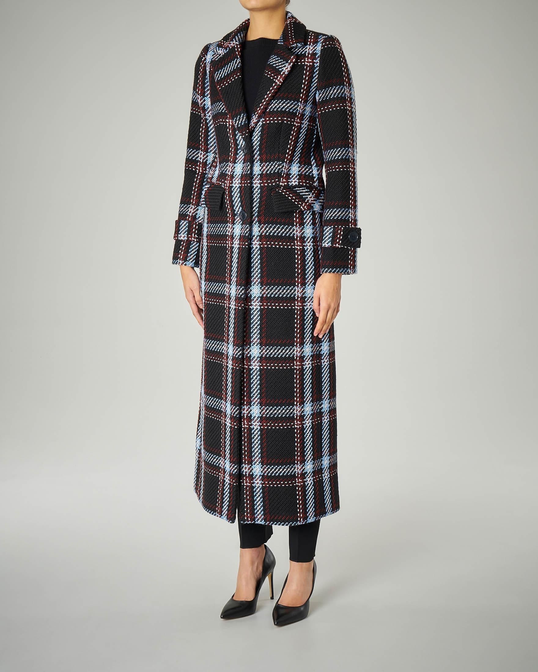 Cappotto lungo nero in misto lana fantasia check doppiopetto