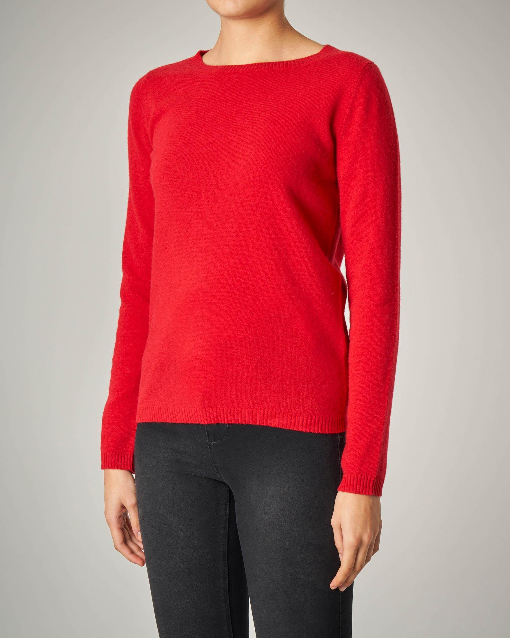 Maglia rossa girocollo in lana vergine
