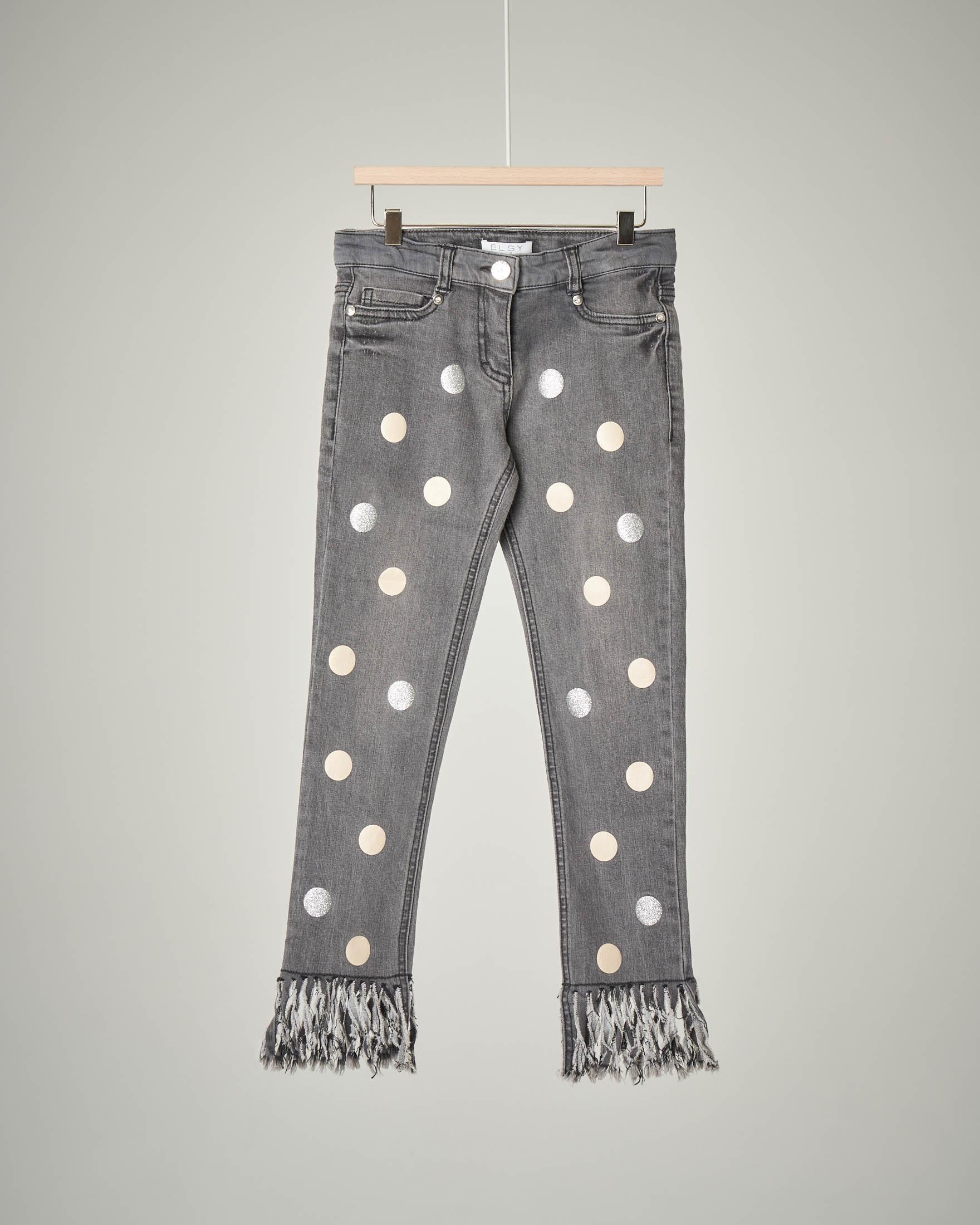 Jeans grigio frange e bolli
