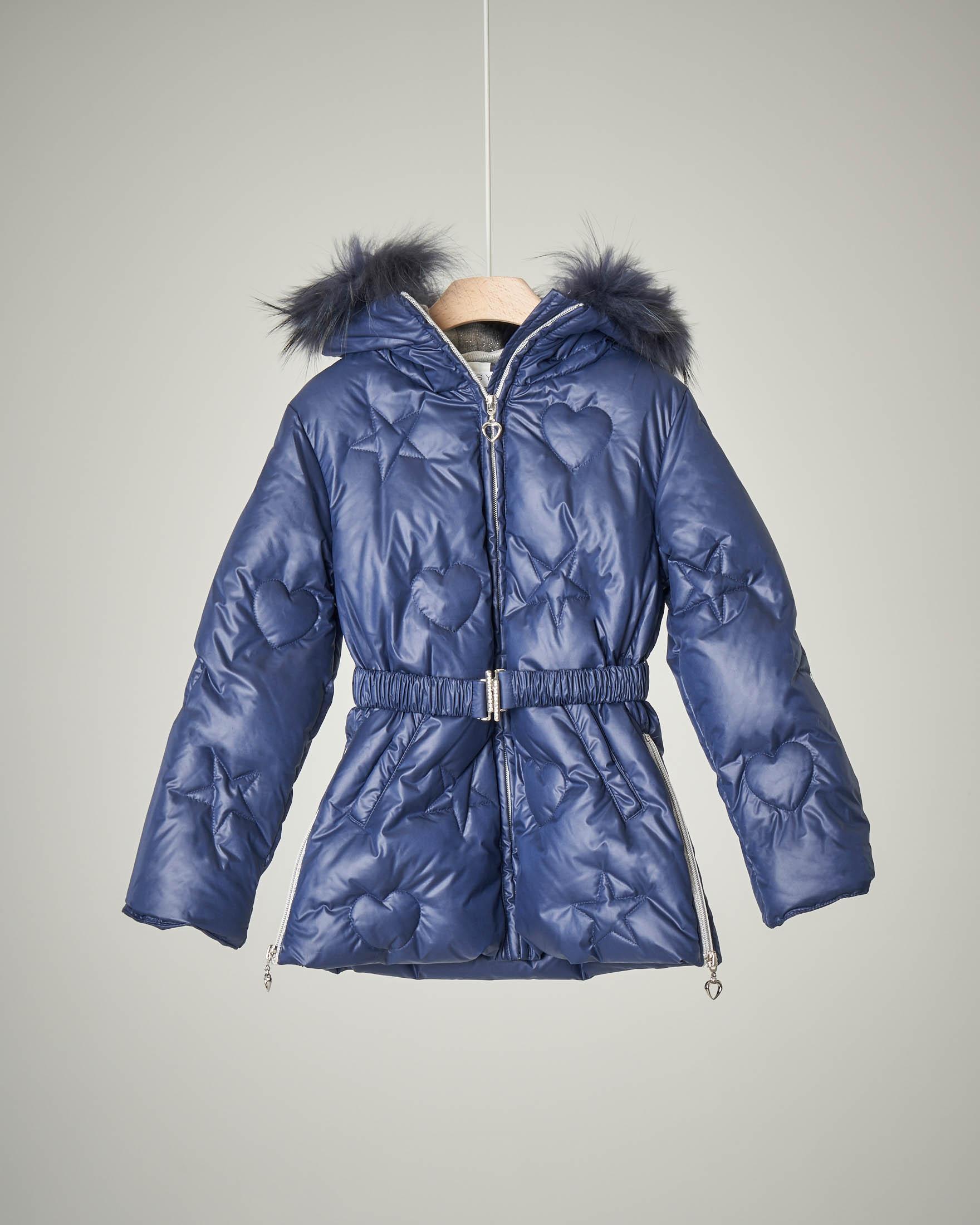 Piumino lungo blu con cintura e pelliccia