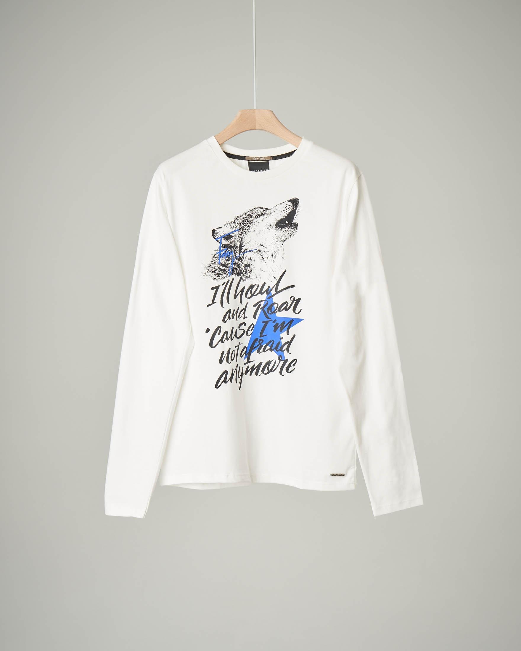 T-shirt bianco panna con stampa