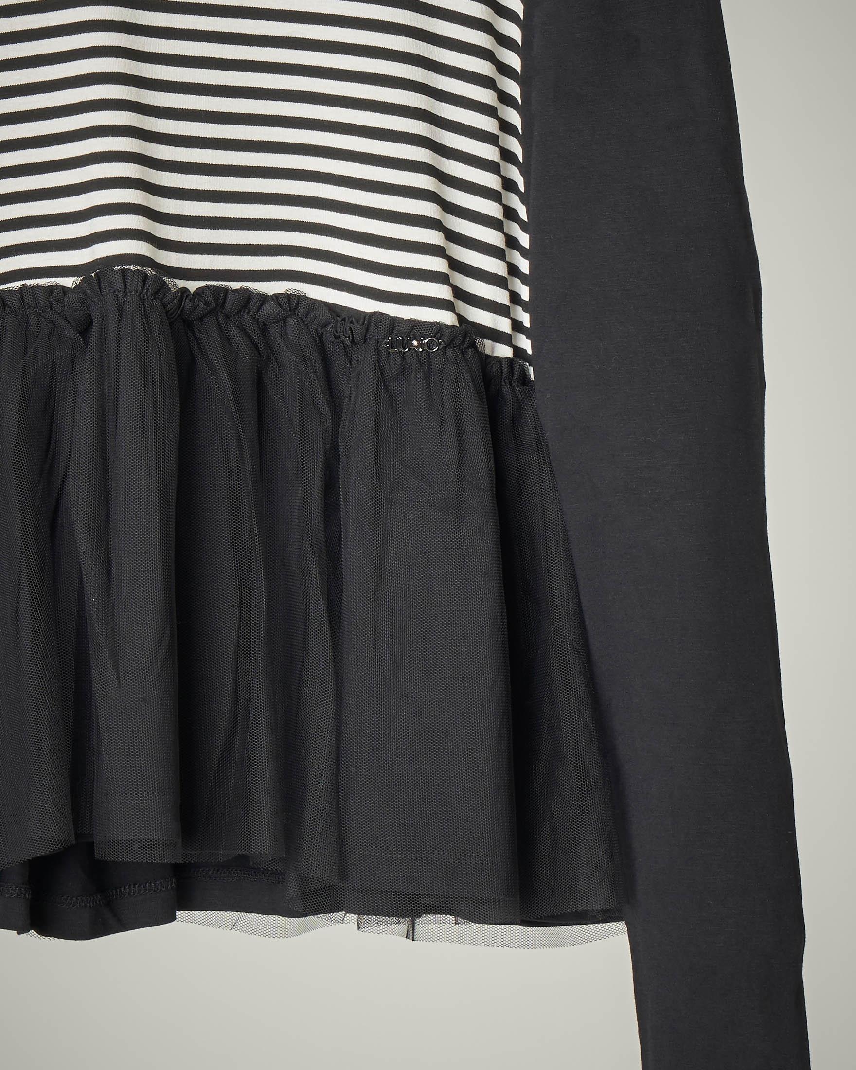 T-shirt nera balza tulle 8-14 anni