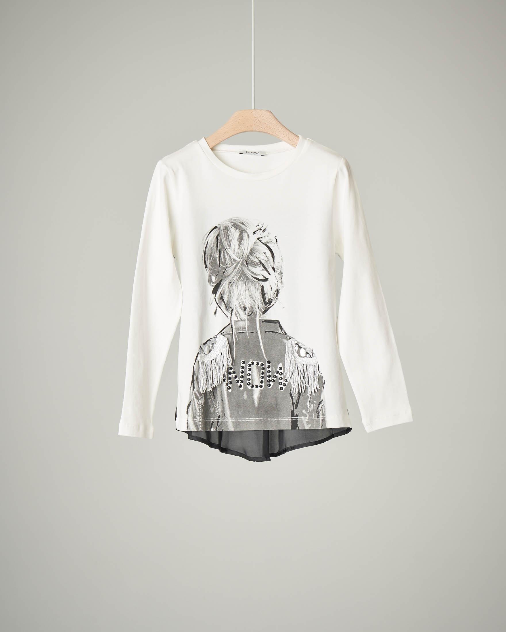 T-shirt bianca stampa ragazza