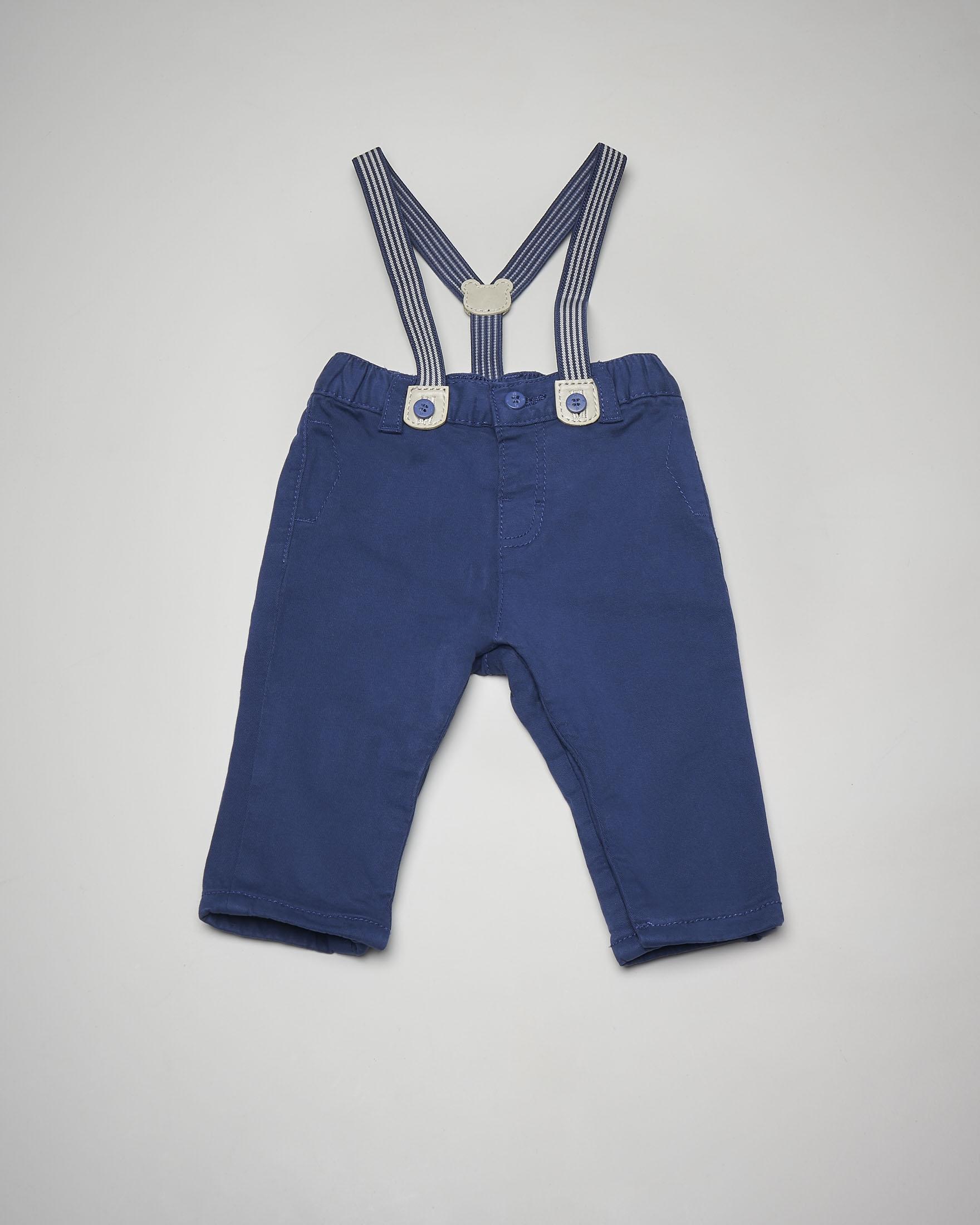 Pantalone blu bretelle