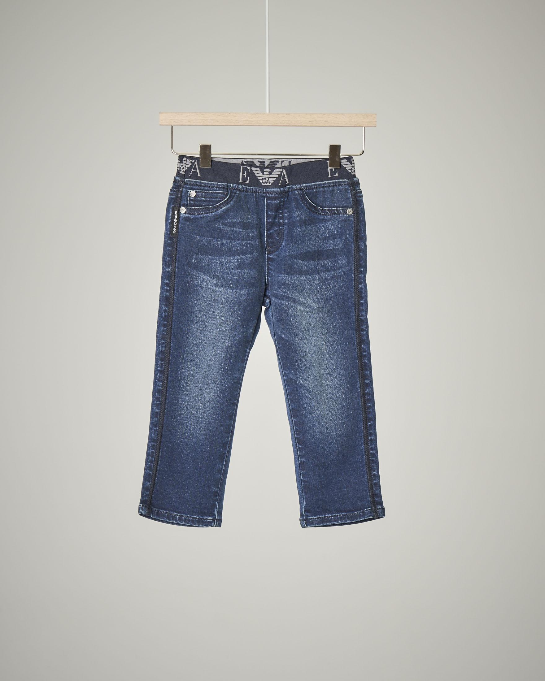 Jeans elastico in vita logato