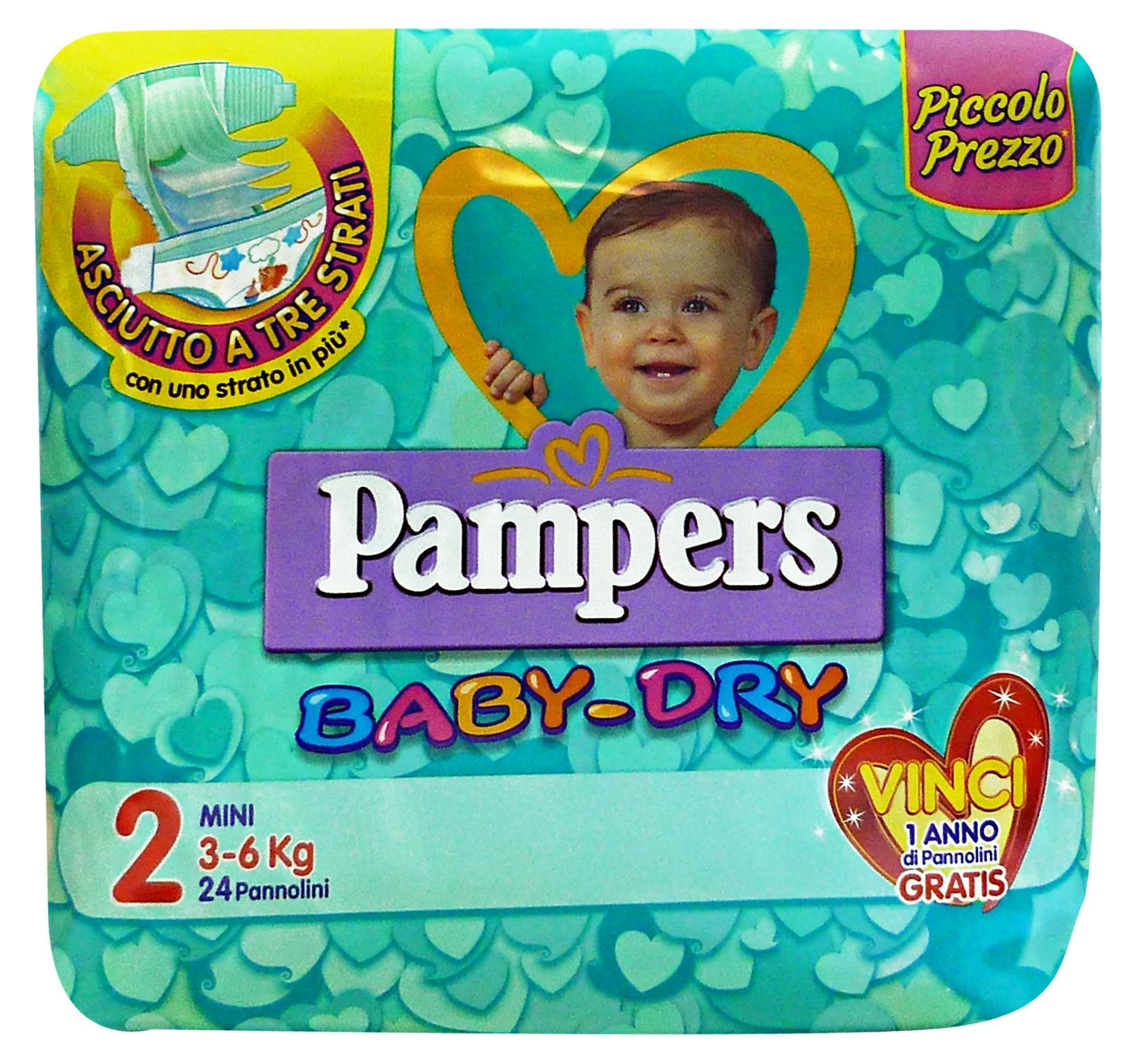 Image of PAMPERS BABY-DRY 2 3-6 KG.*24 Pezzi Linea Bimbo