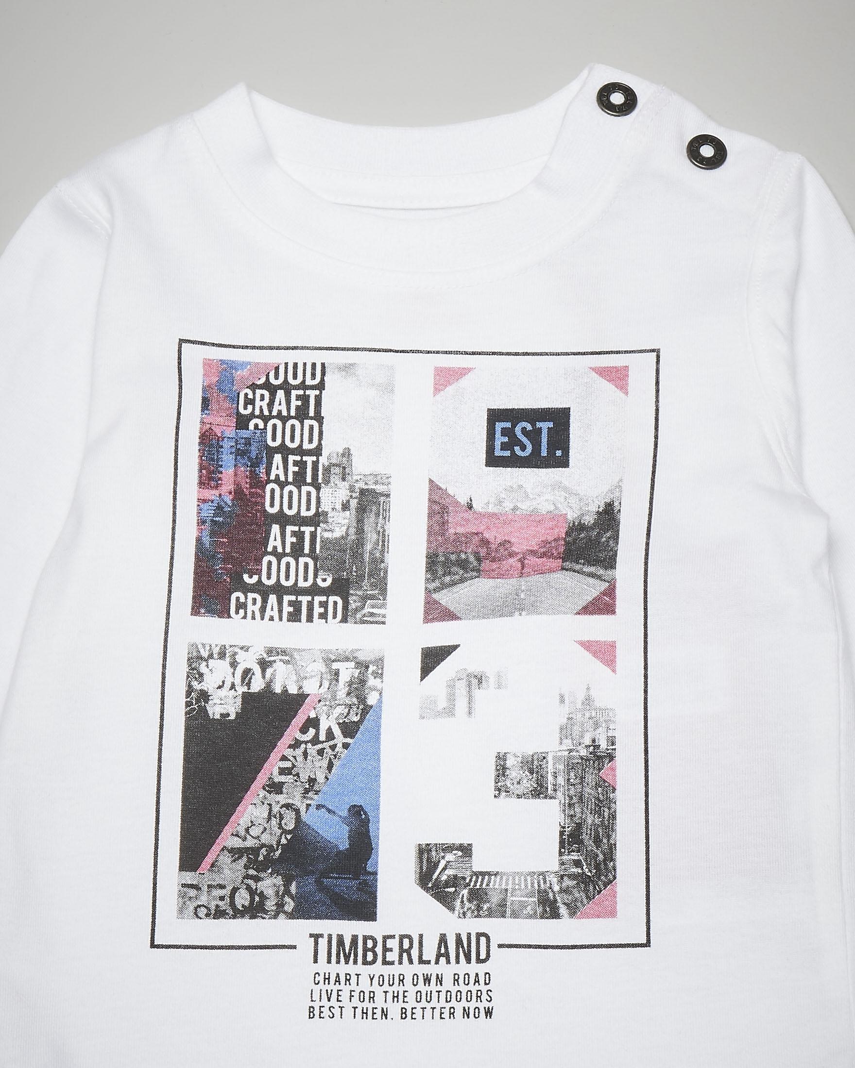 T-shirt bianca a manica lunga con stampa 6-18 mesi