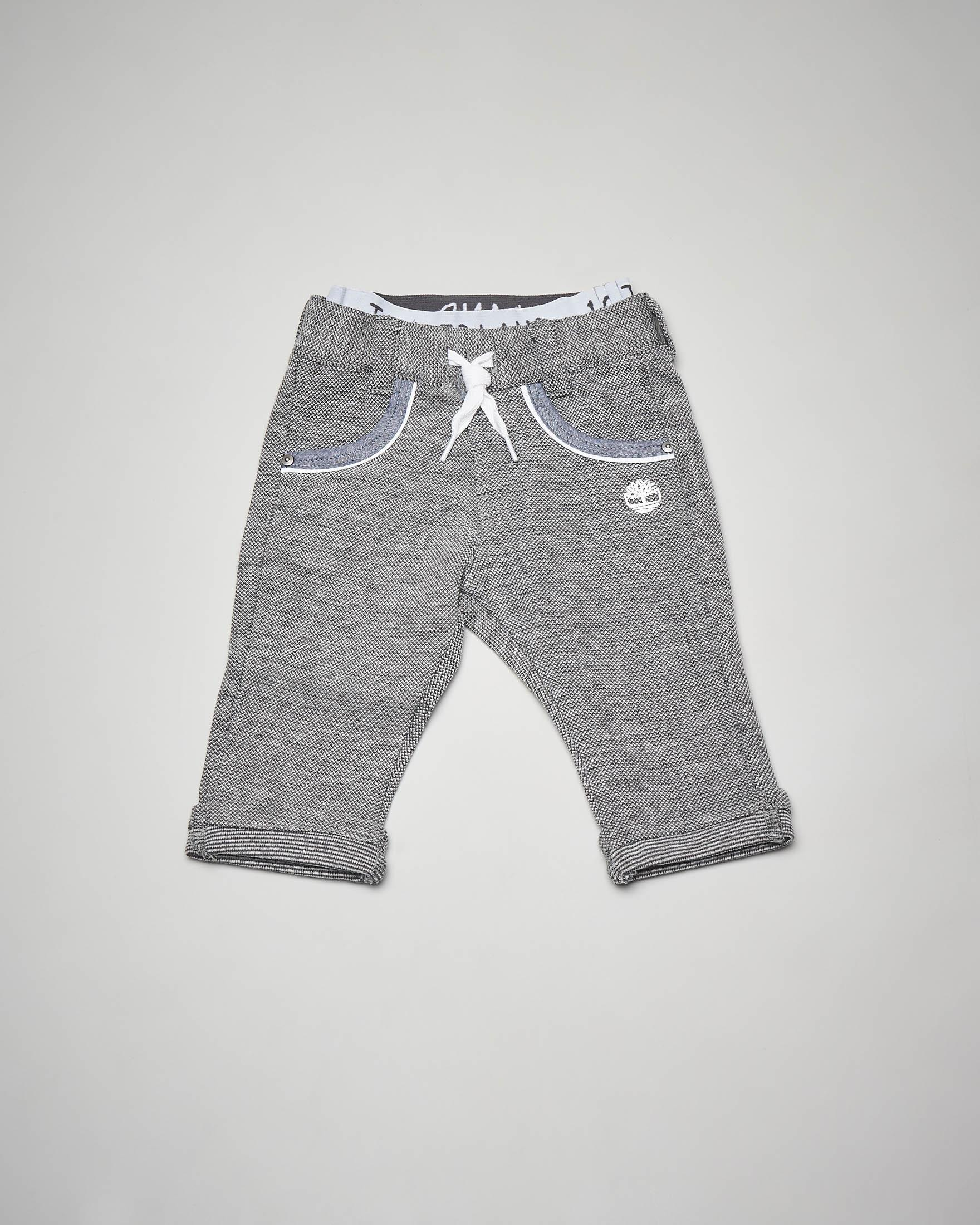 Pantalone grigio chiaro in piquet di cotone 3-18 mesi