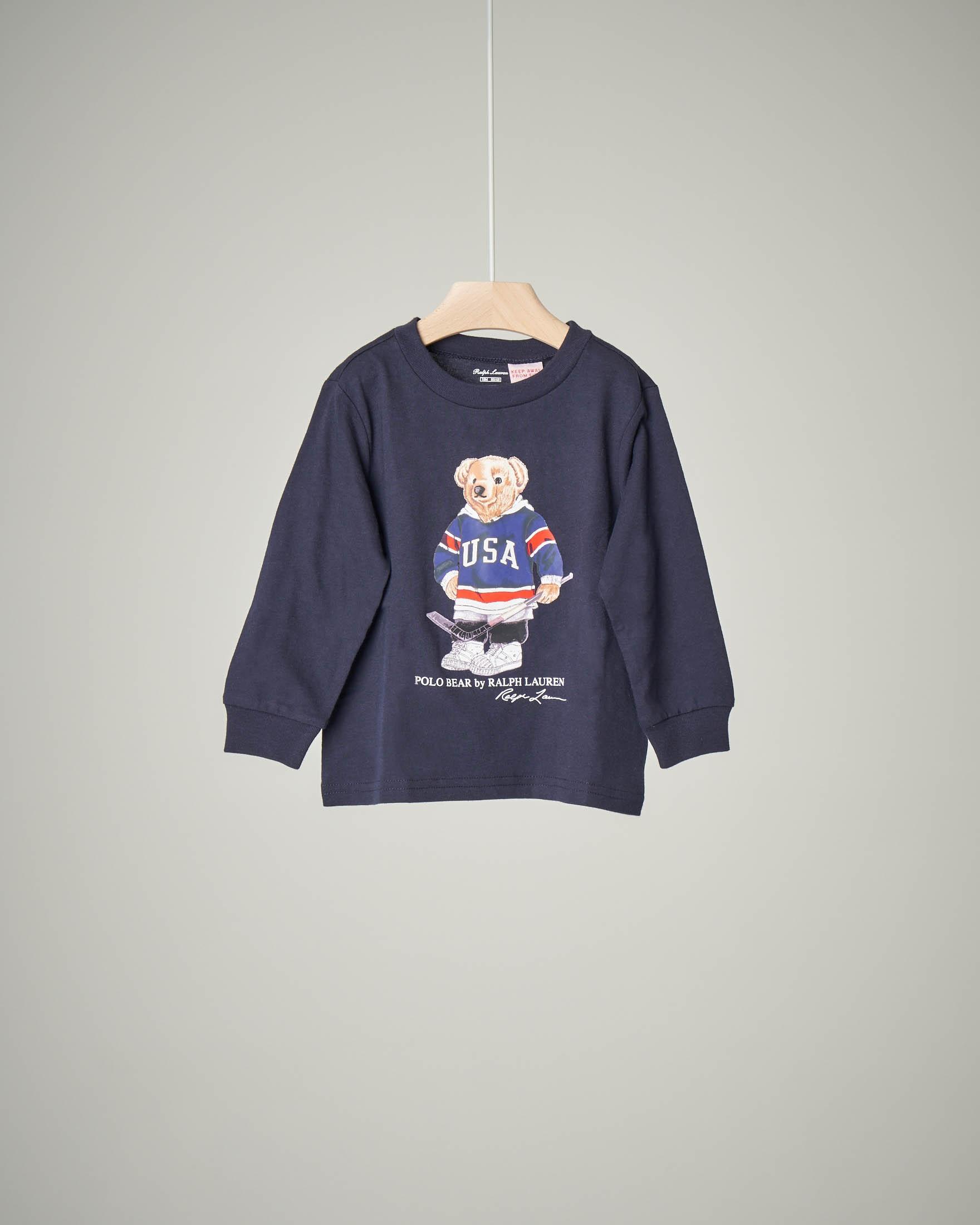 T-shirt blu orsetto