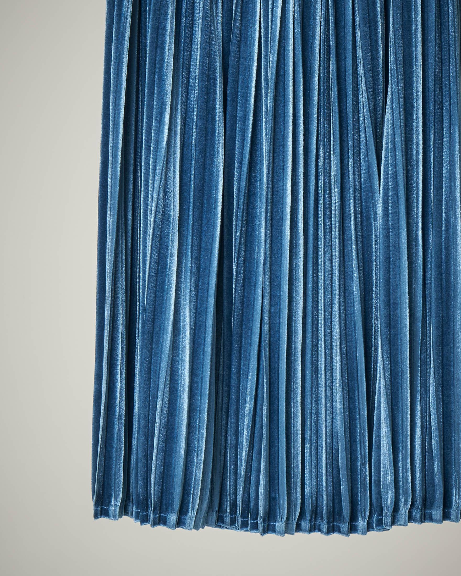 Gonna azzurra plissé velluto S-XL