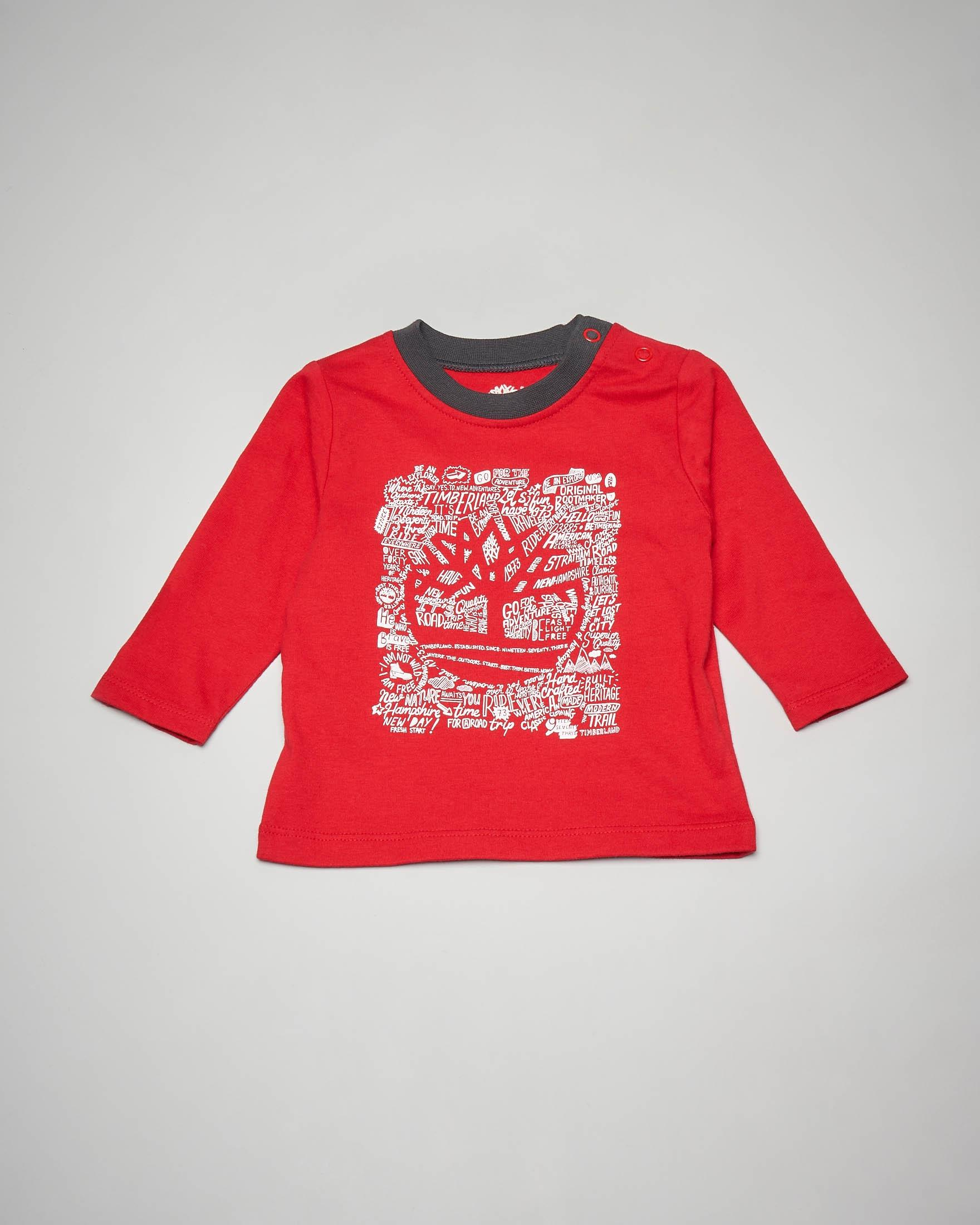 T-shirt rossa a manica lunga con stampa