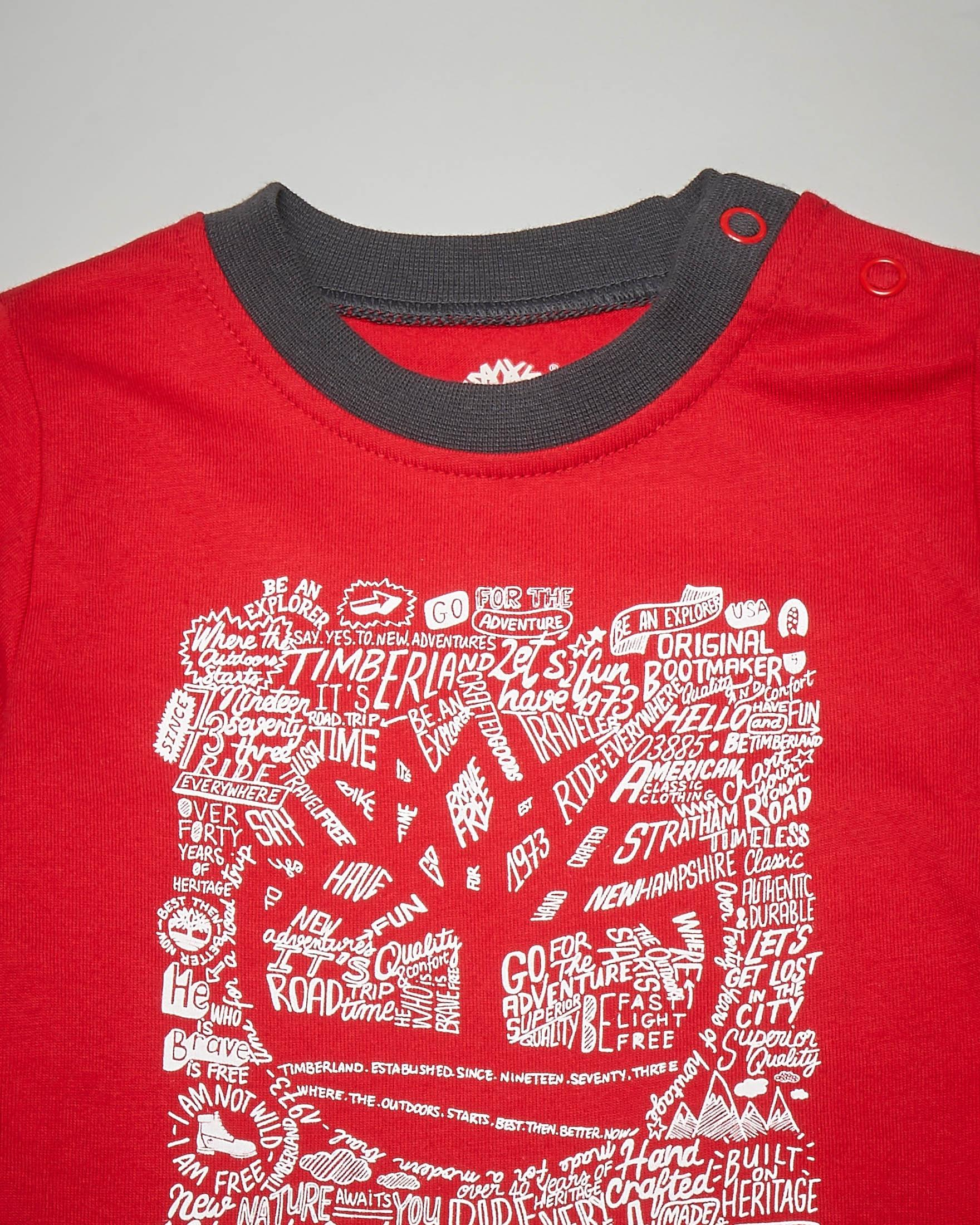 T-shirt rossa a manica lunga con stampa 3-18 mesi