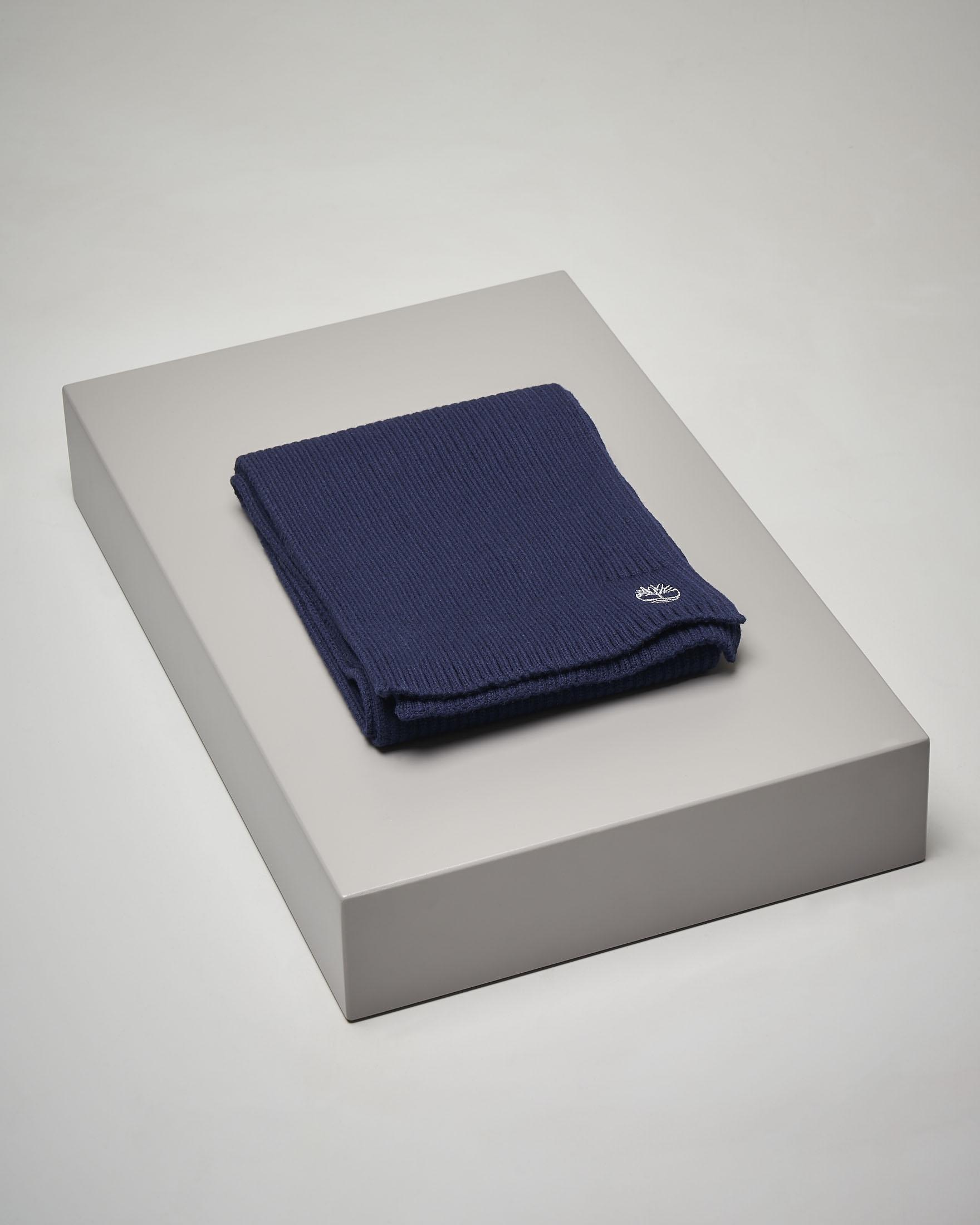 Sciarpa blu in cotone a costine