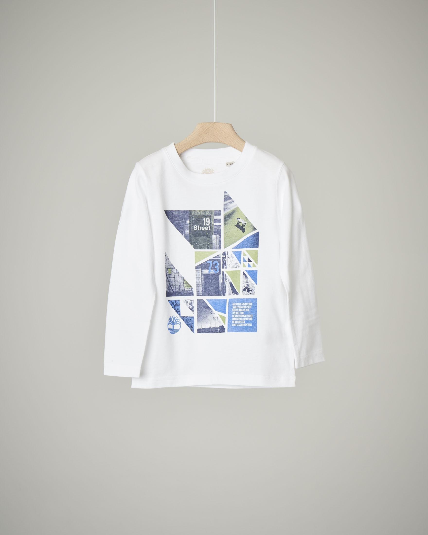 T-shirt a manica lunga bianca con stampa geometrica
