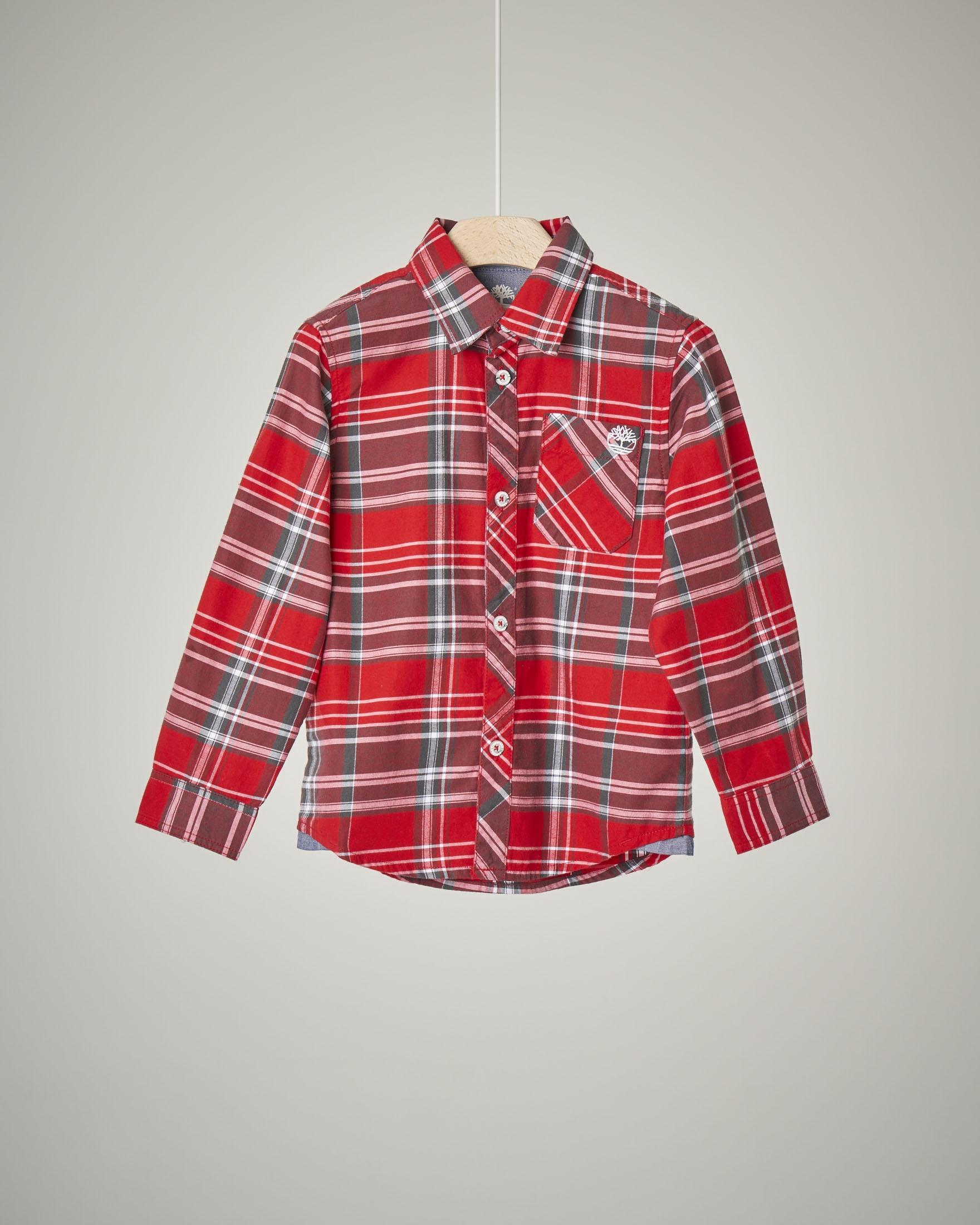 Camicia a quadri rossi e grigi in cotone