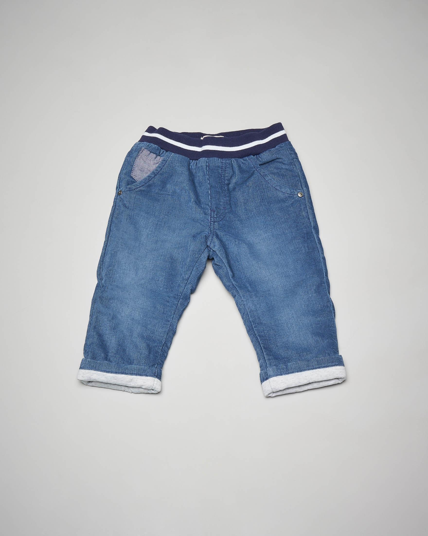 Pantalone blu in velluto con elastico in vita