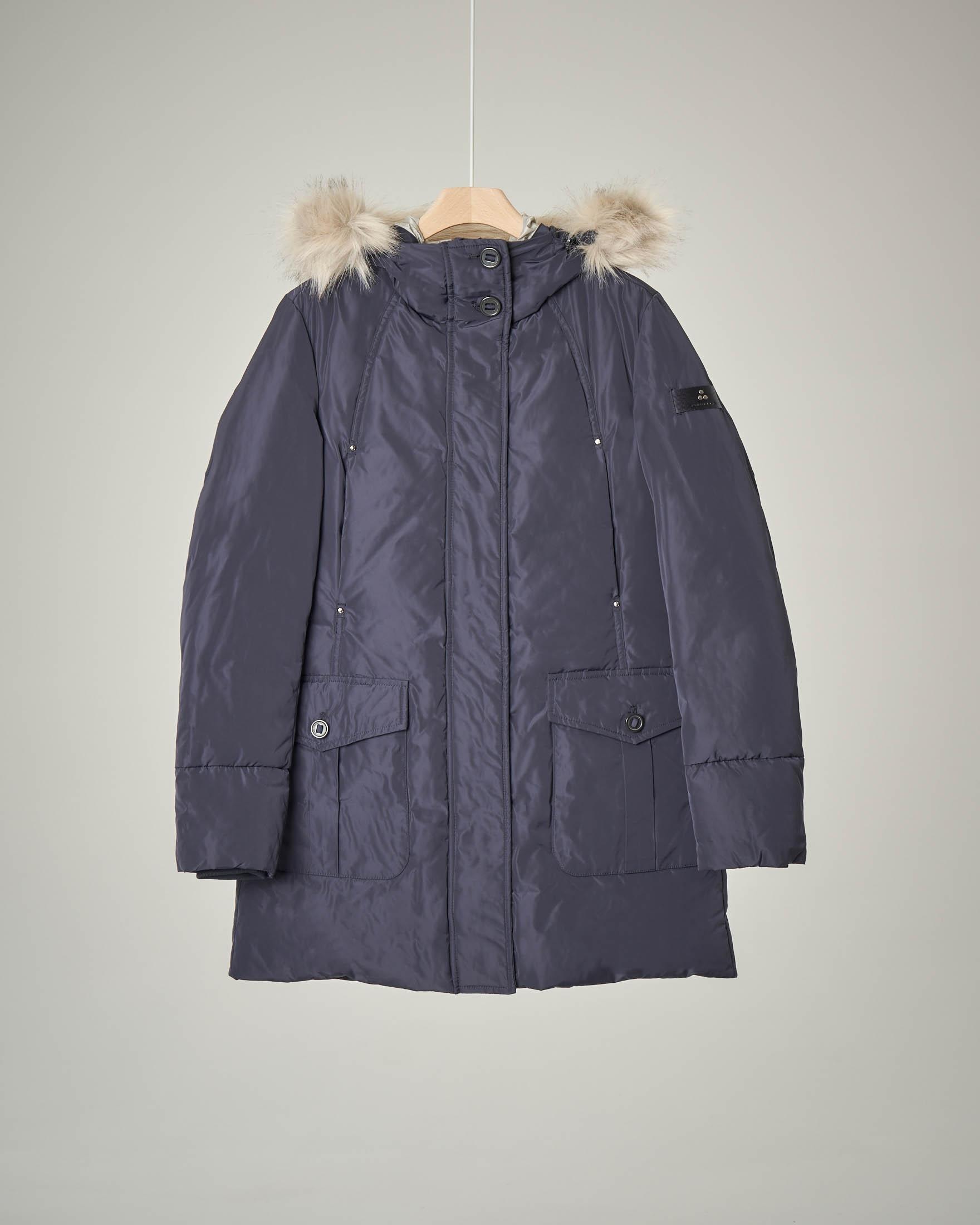 Cappotto blu cappuccio ecopelliccia