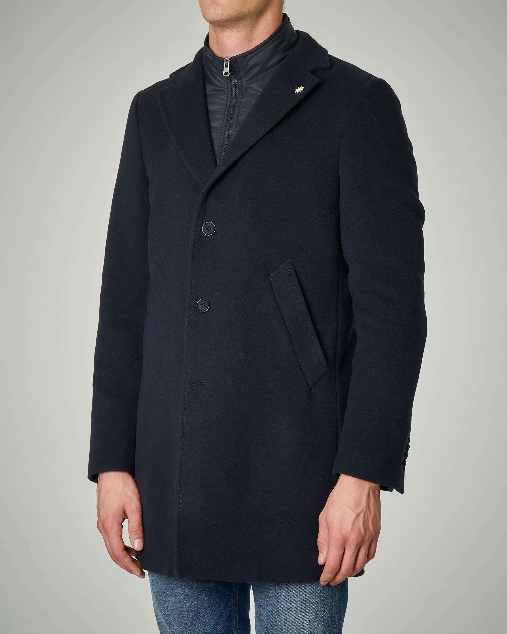Cappotto blu con davantino in nylon