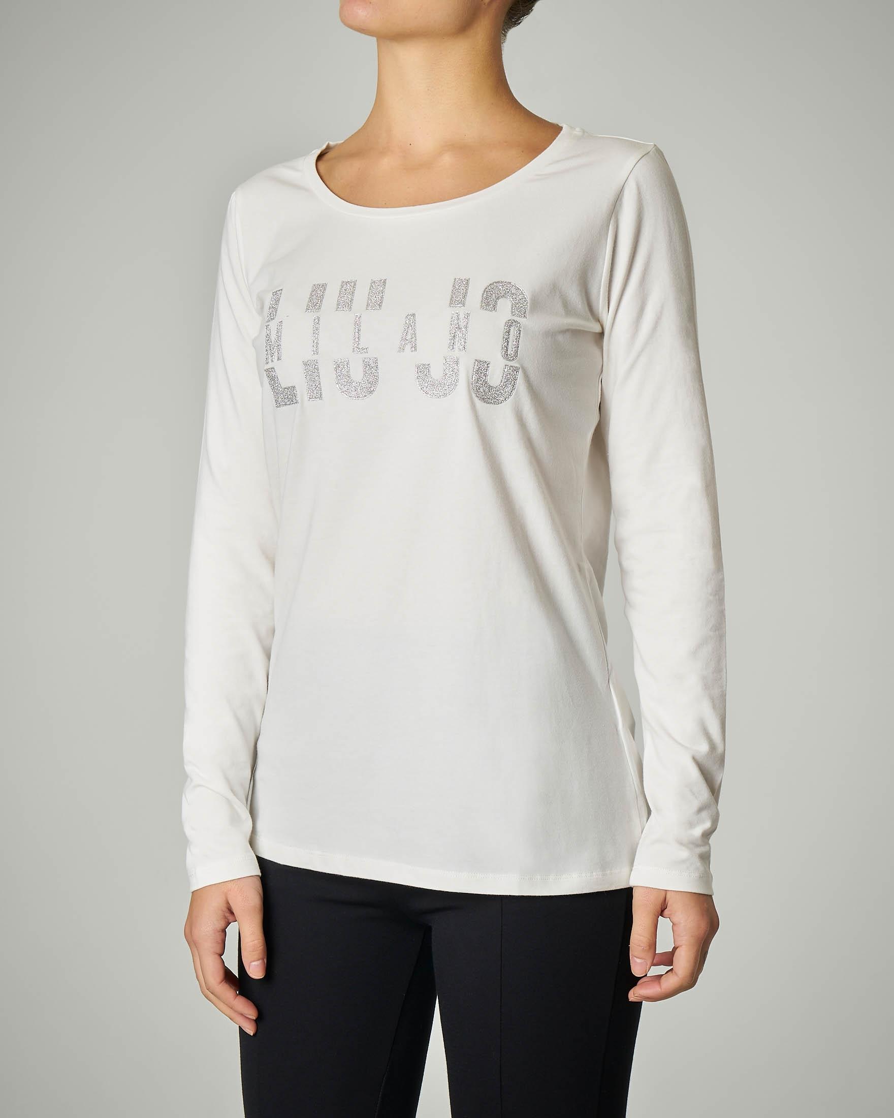 T-shirt bianca manica lunga con logo in lurex
