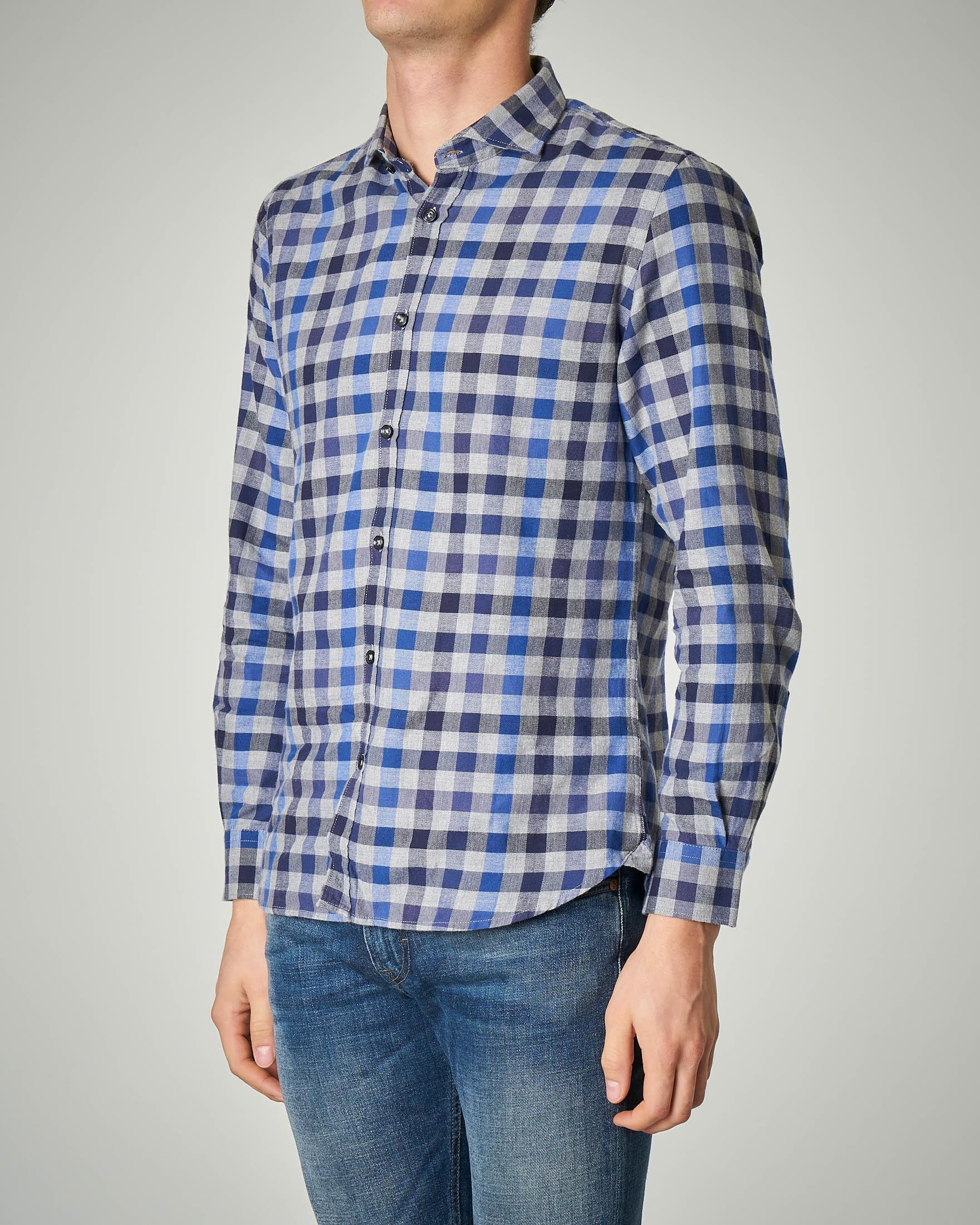 Camicia a quadretti blu e grigia in flanella