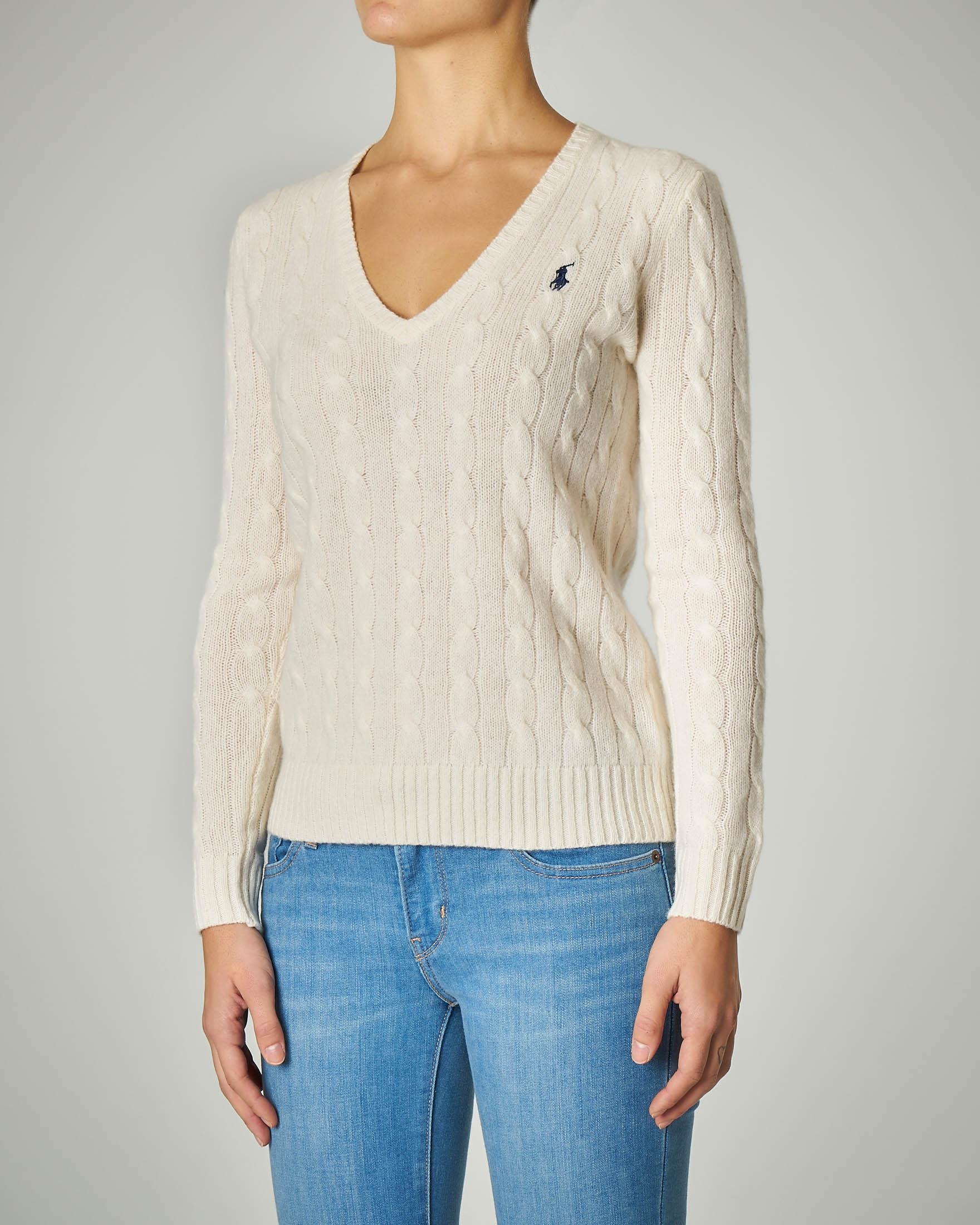 Maglia a trecce in lana e cashmere scollo a V color avorio
