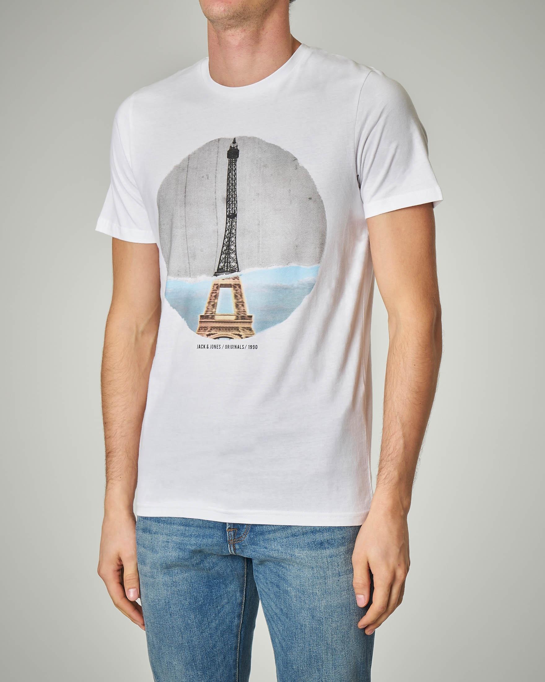 T-shirt bianca con stampa torre Eiffel