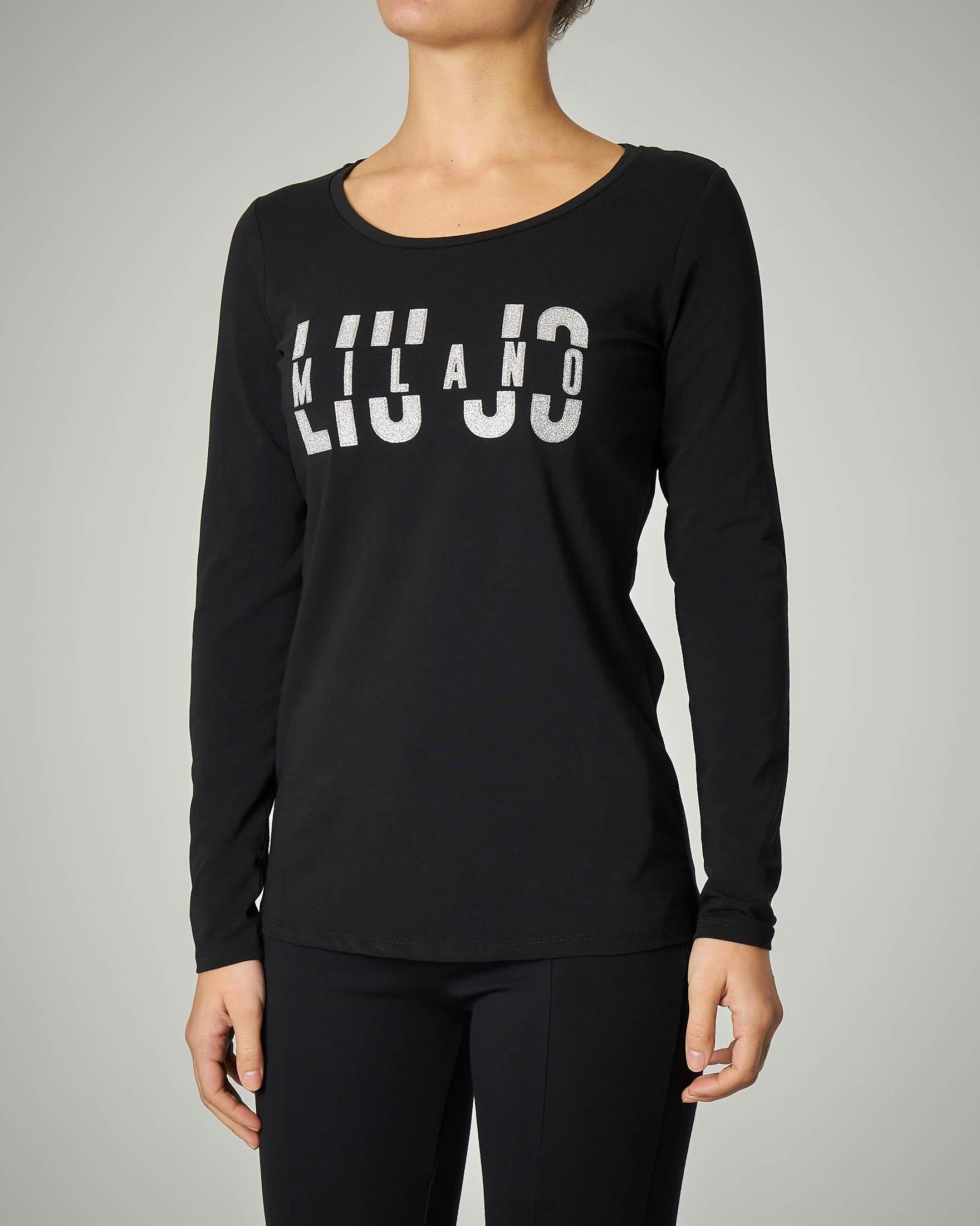 T-shirt nera manica lunga con logo in lurex