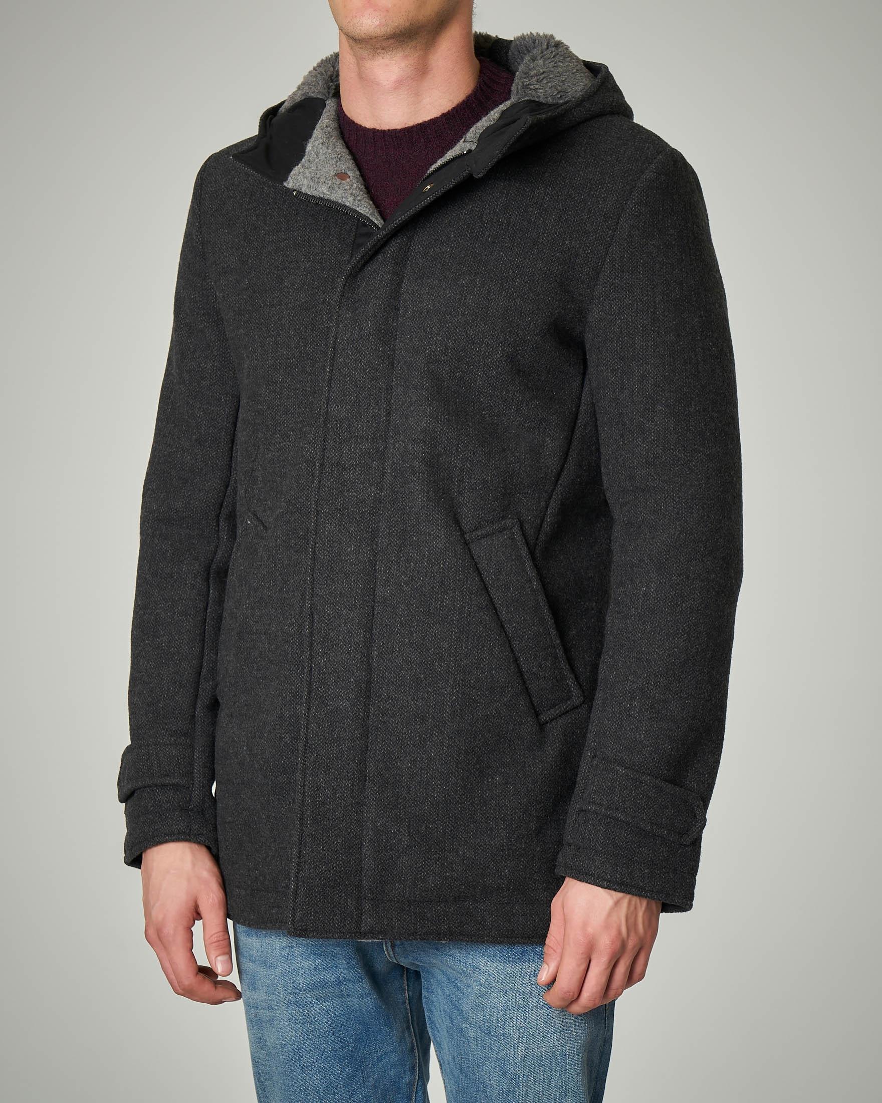 Cappotto grigio scuro con cappuccio e chiusura zip nascosta