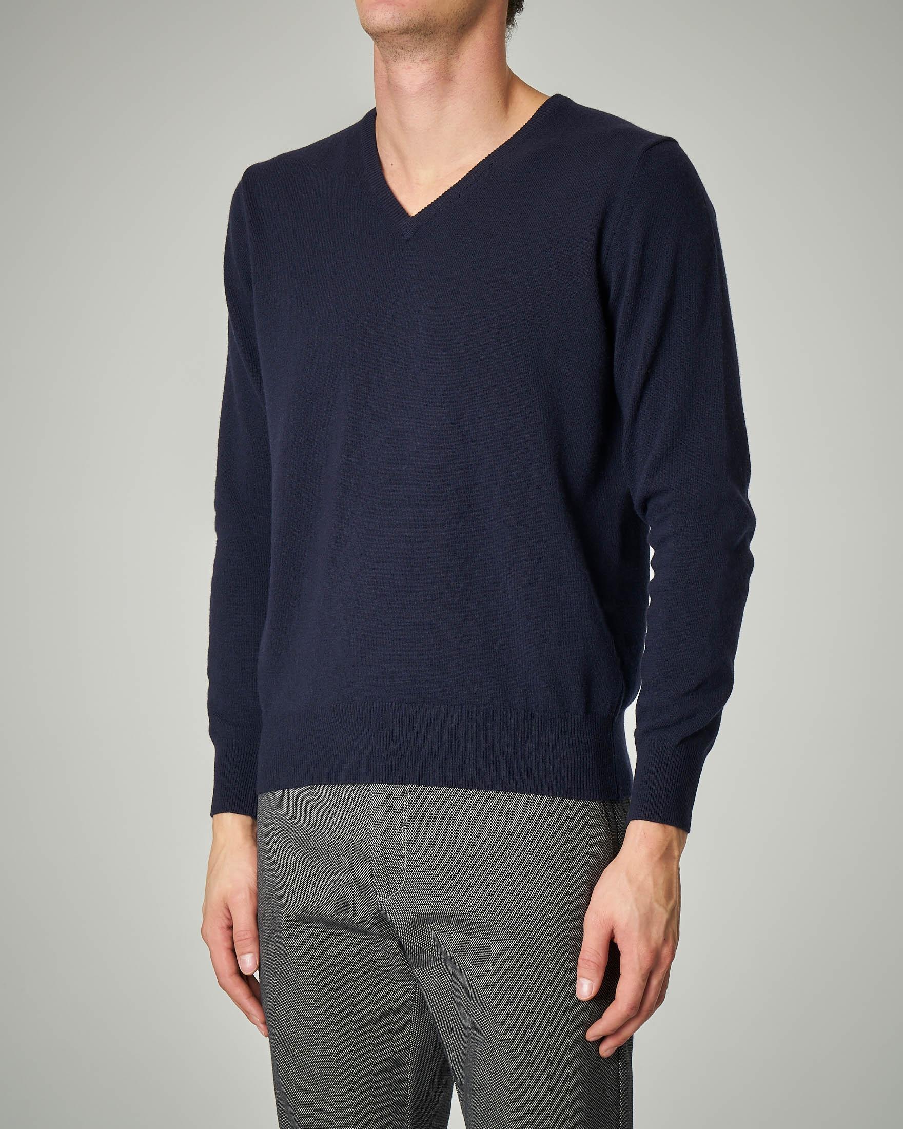 Maglia blu scollo a V in lana e cachemire