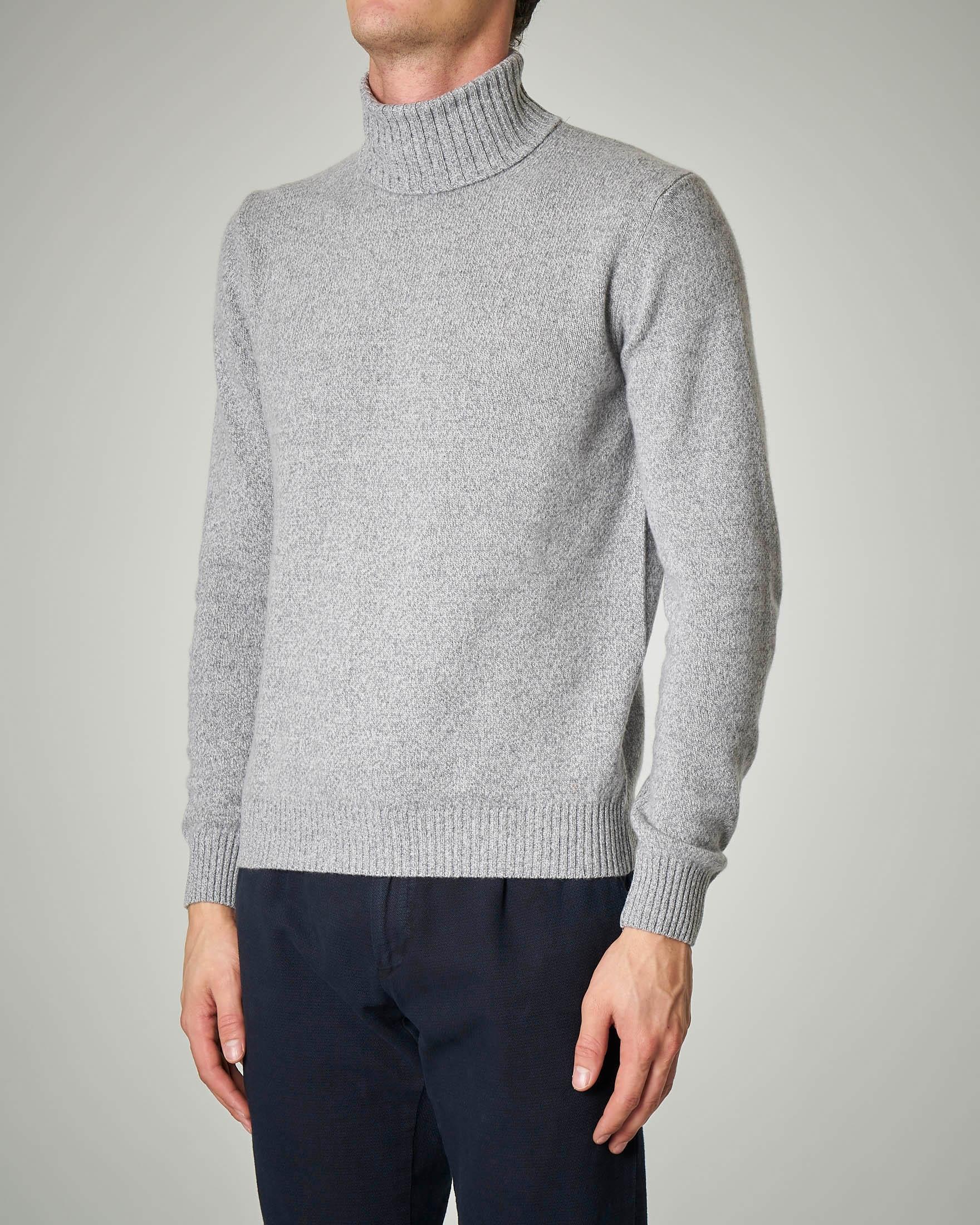 Dolcevita grigio moulinè in lana e cachemire finezza 7