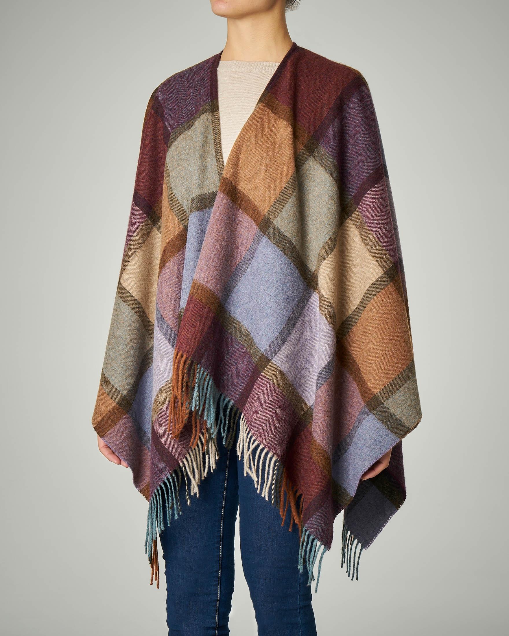 Poncho in lana merino a fantasia tartan multicolor con frange