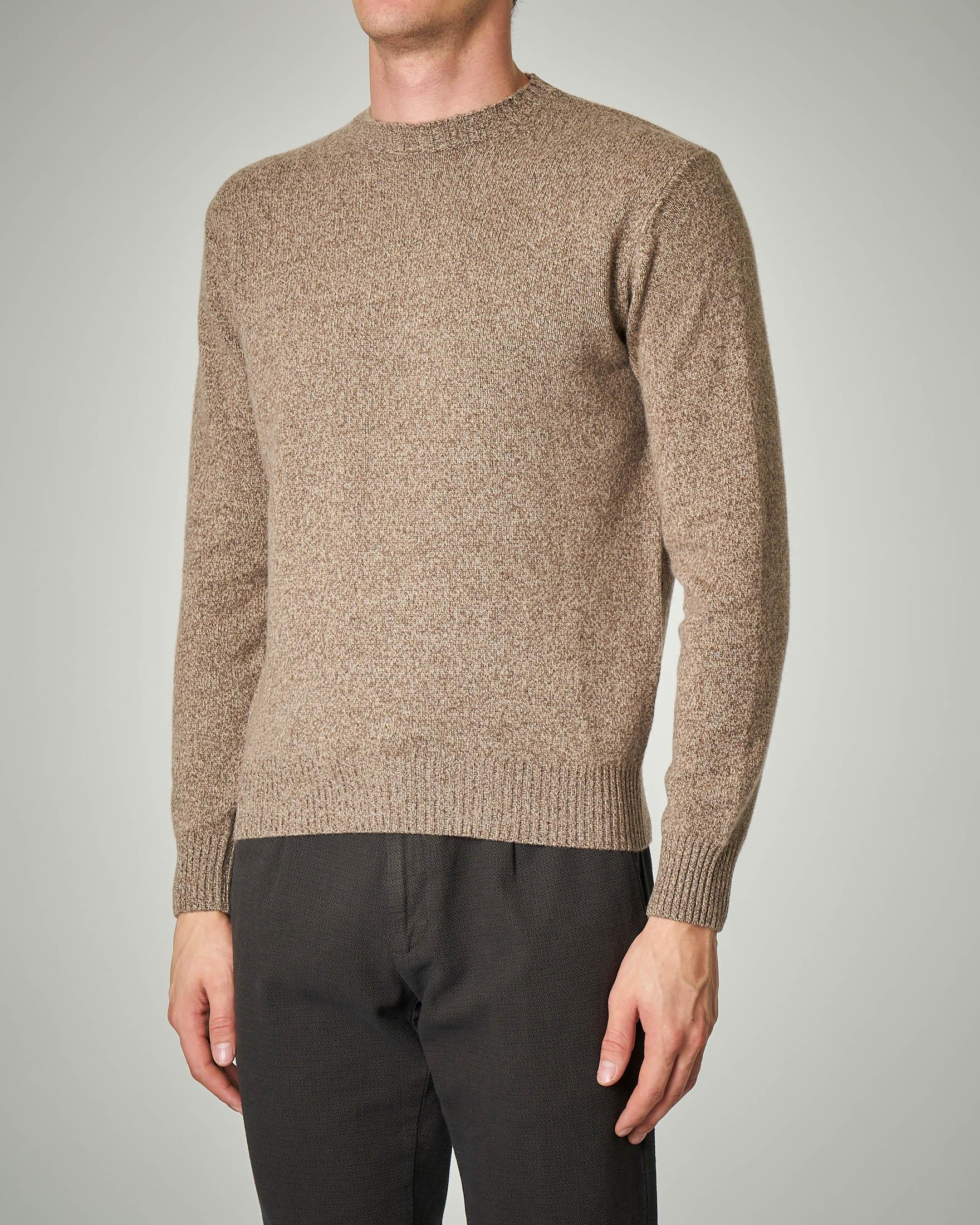 Maglia tortora moulinè in lana e cachemire finezza 7