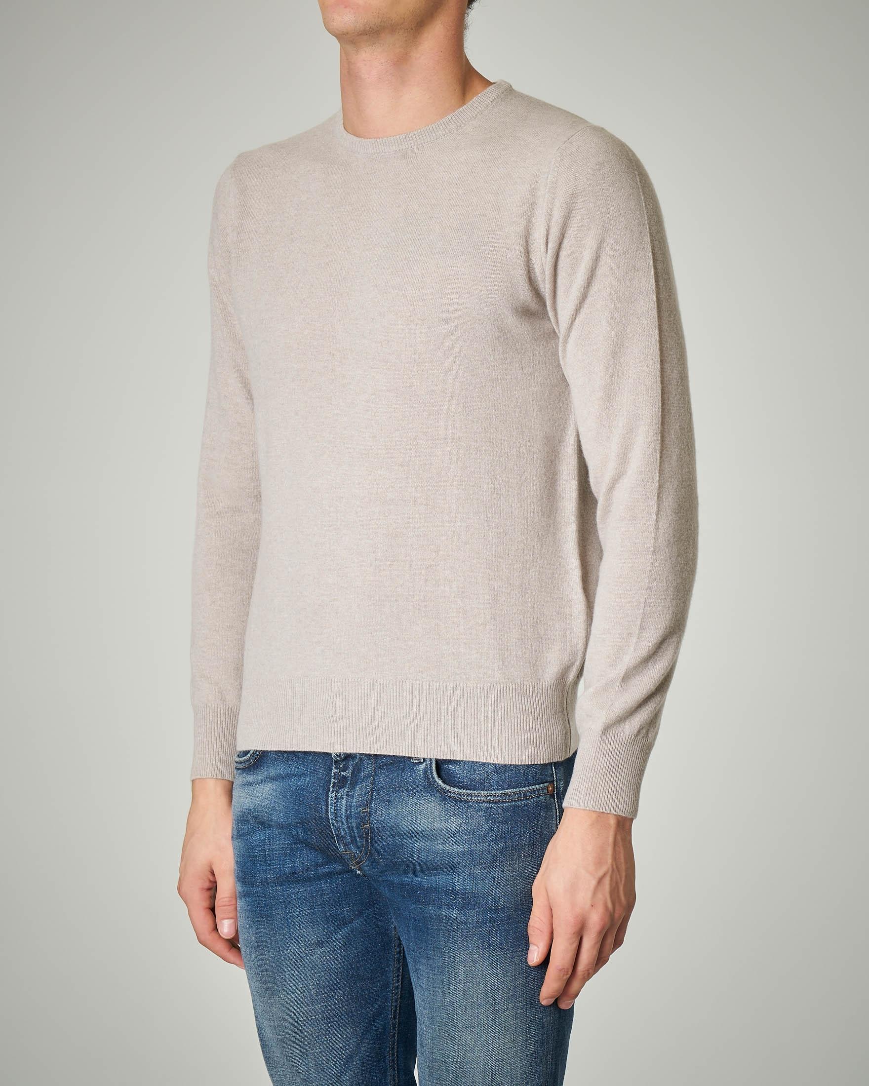Maglia beige girocollo in lana e cachemire