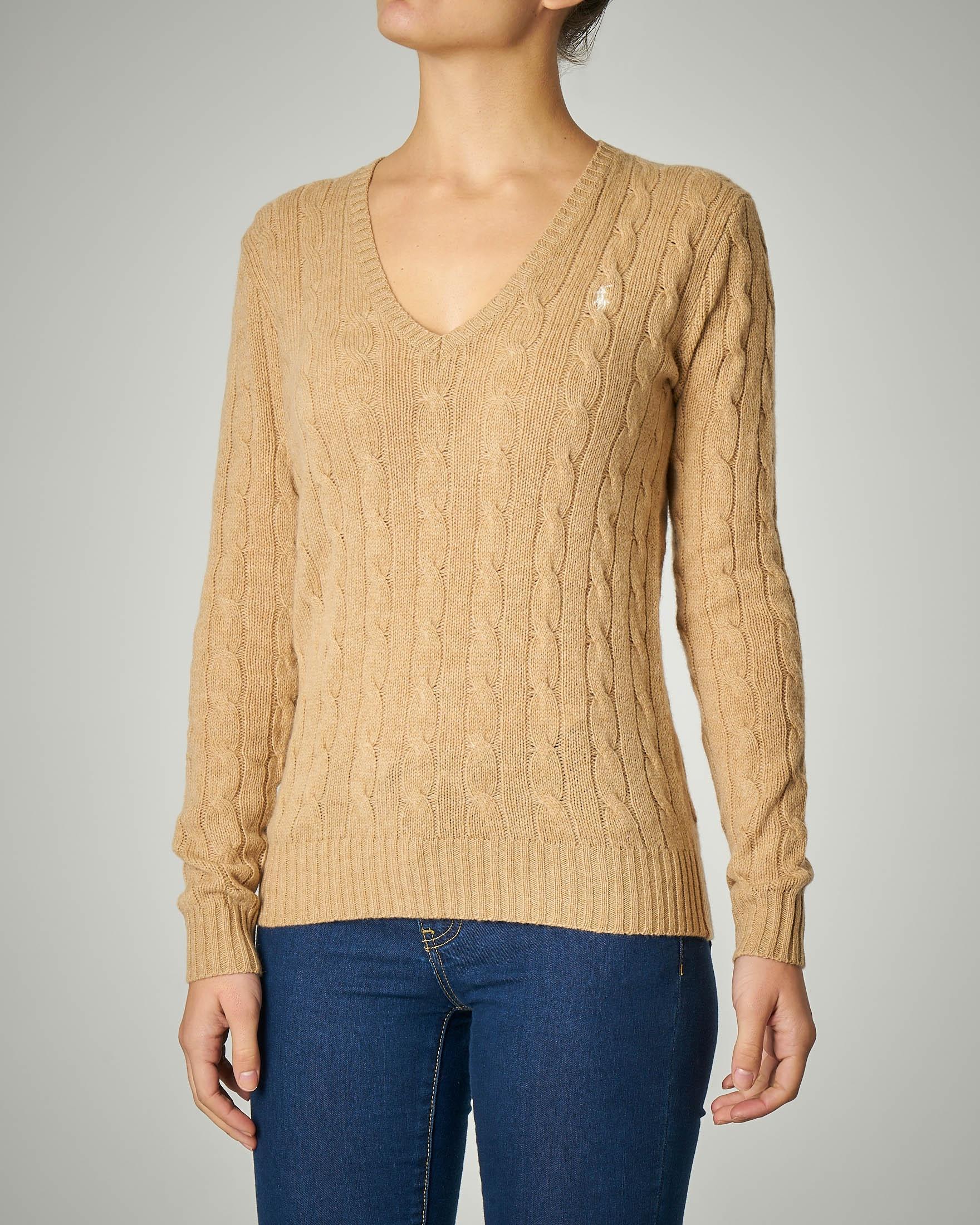 Maglia a trecce in lana e cashmere scollo a V color cammello