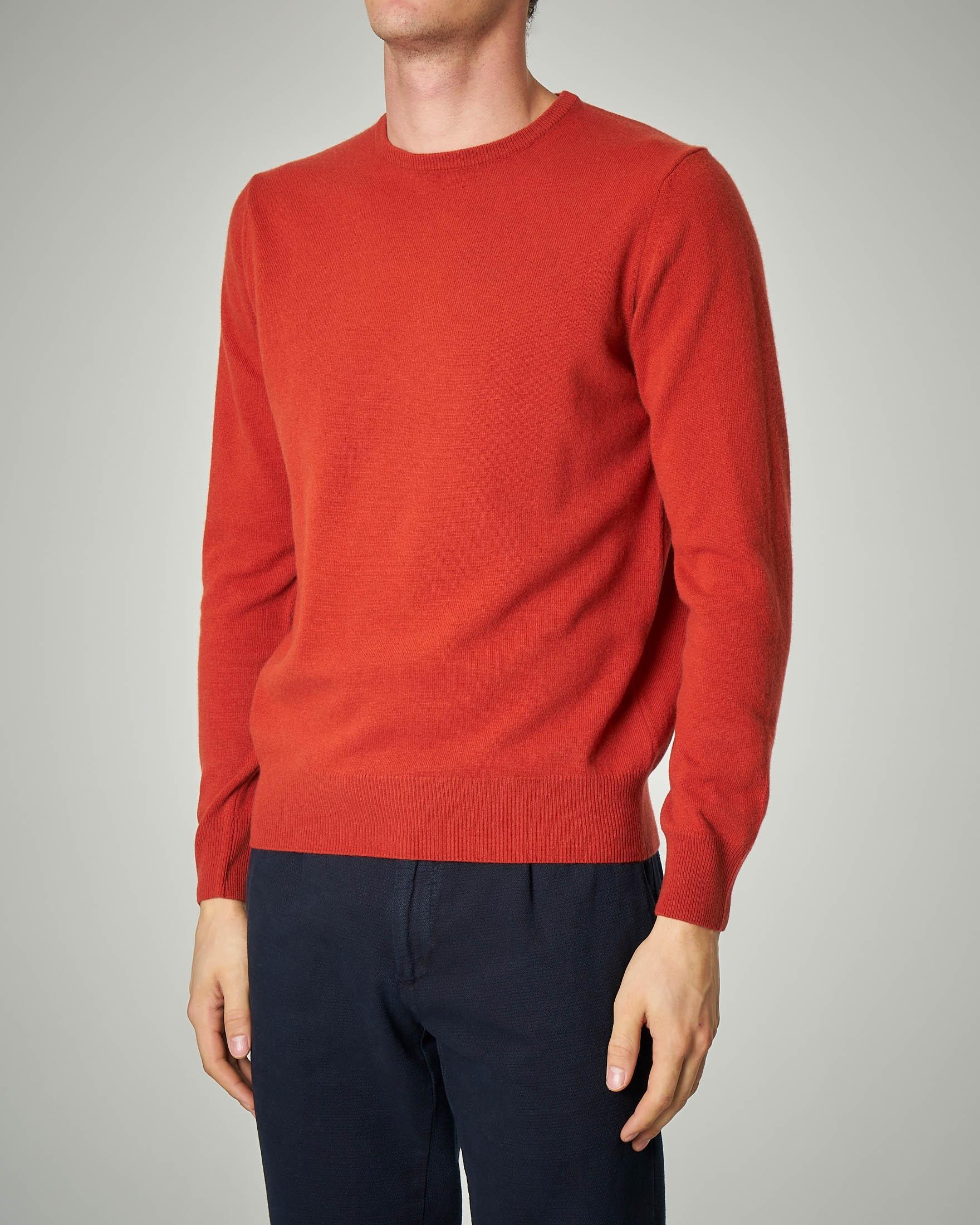 Maglia arancione girocollo in lana e cachemire