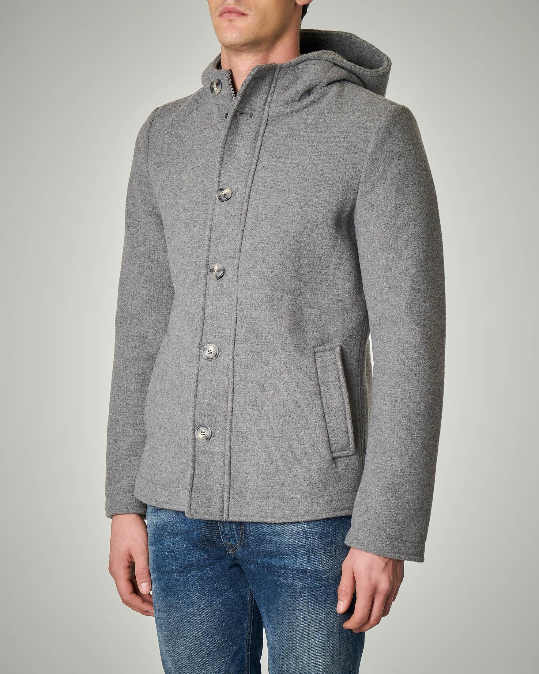 Cappotto grigio chiaro con cappuccio