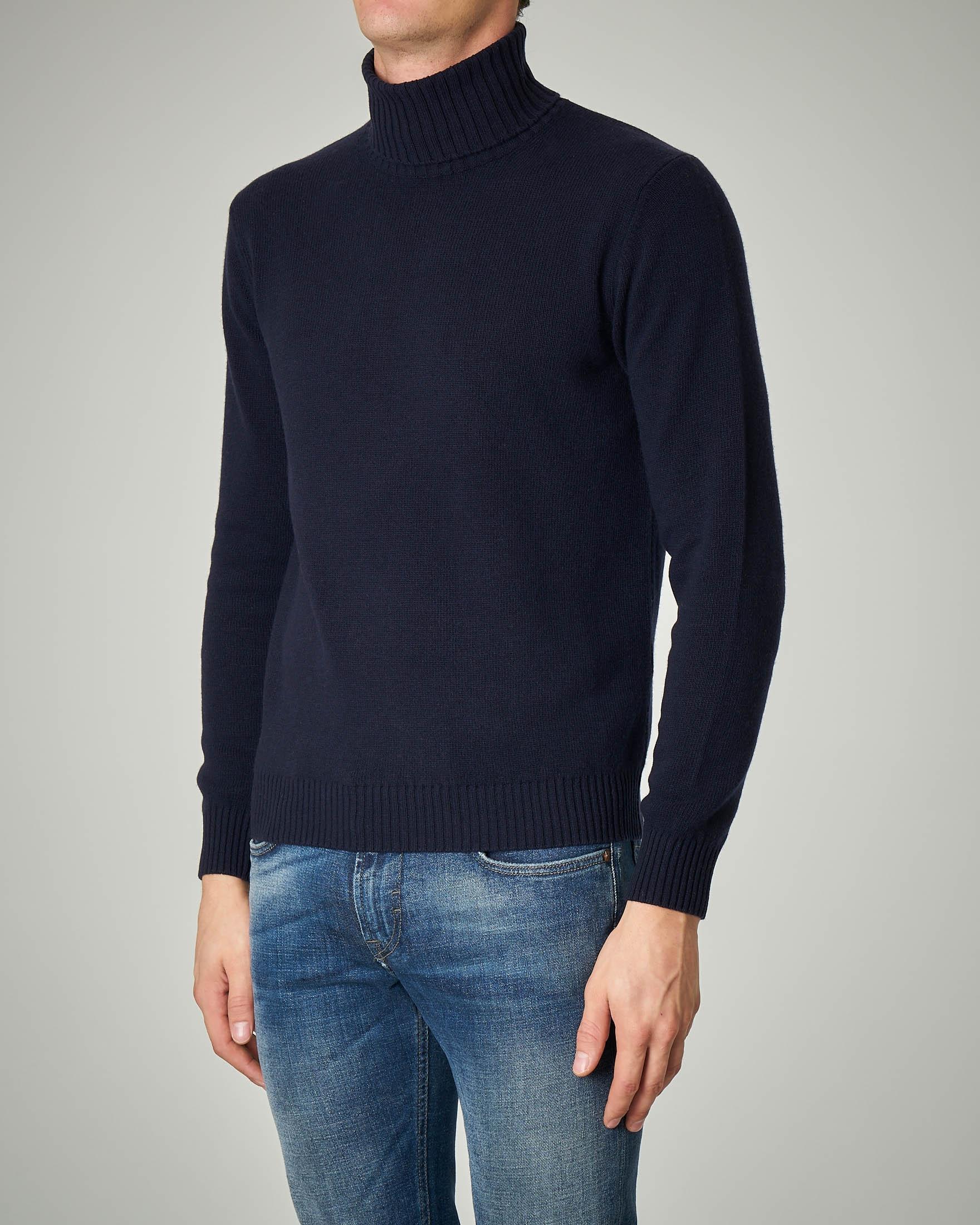 Dolcevita blu moulinè in lana e cachemire finezza 7