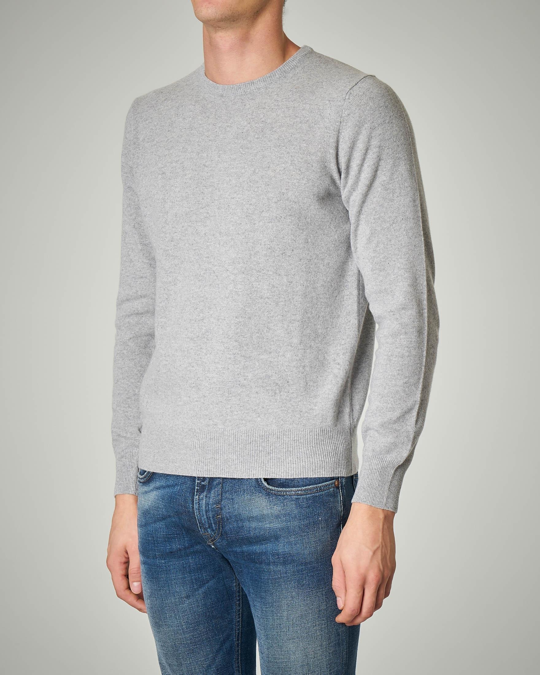 Maglia grigio chiaro girocollo in lana e cachemire
