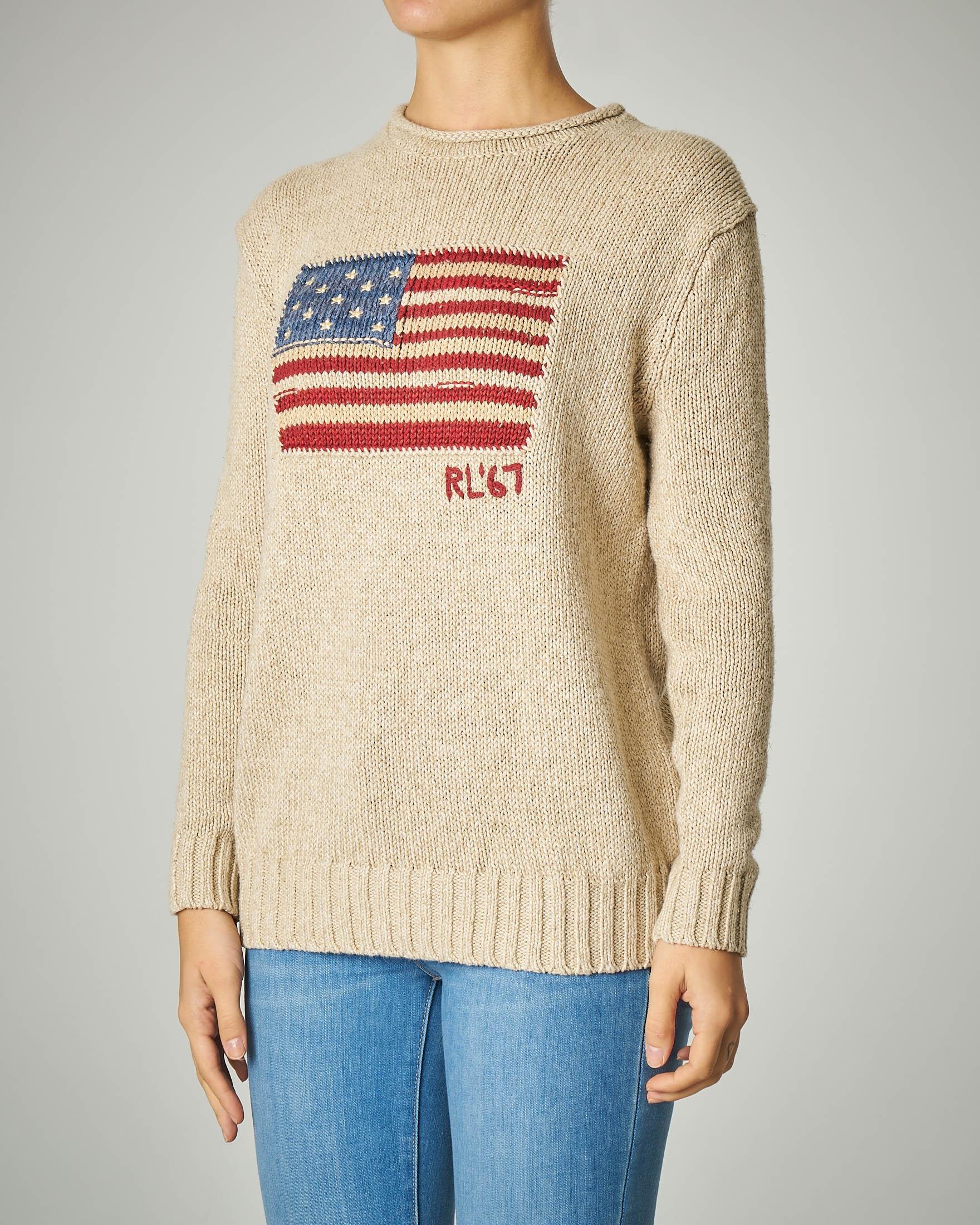 Maglia tricot in cotone misto lino beige con logo bandiera