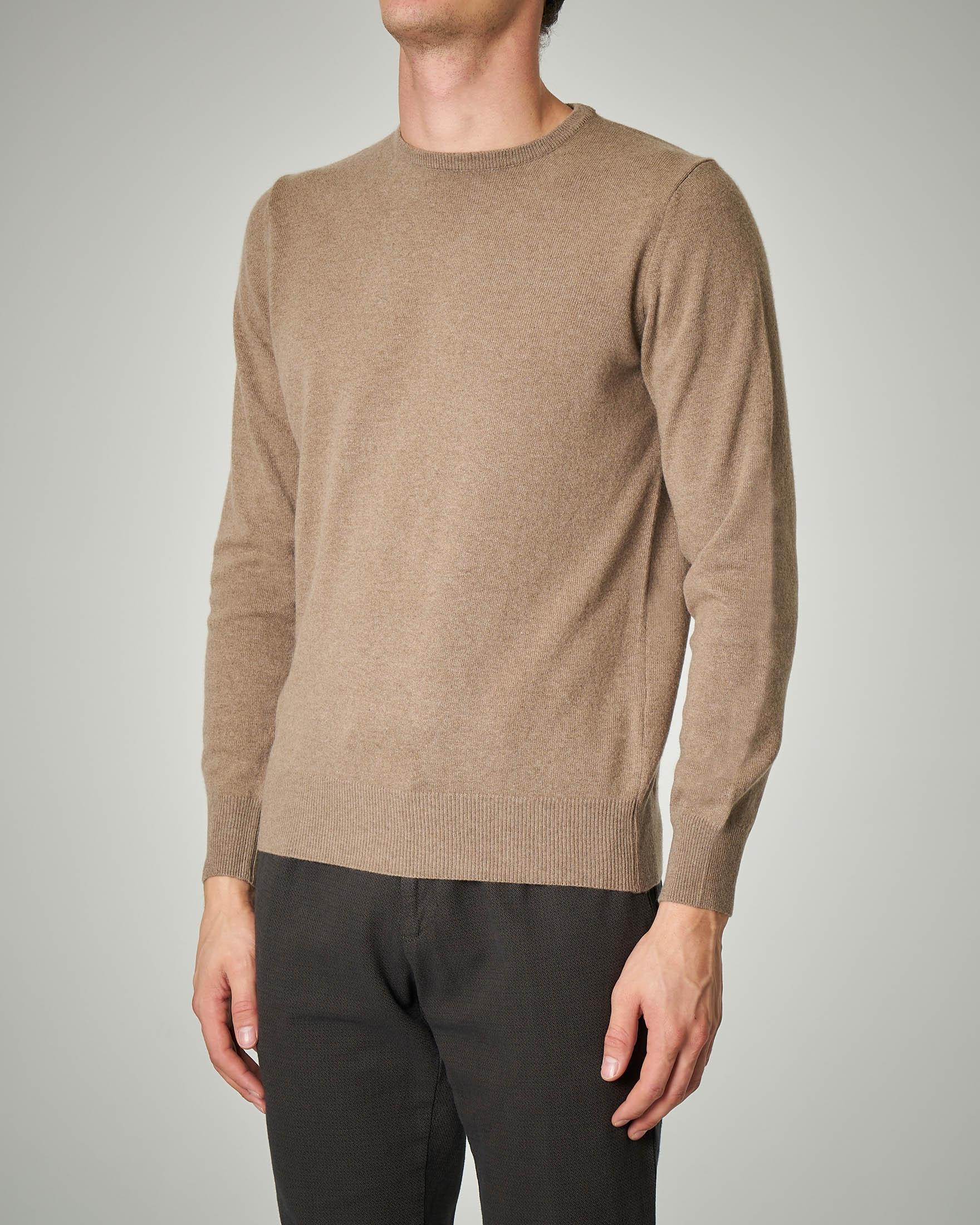 Maglia tortora girocollo in lana e cachemire