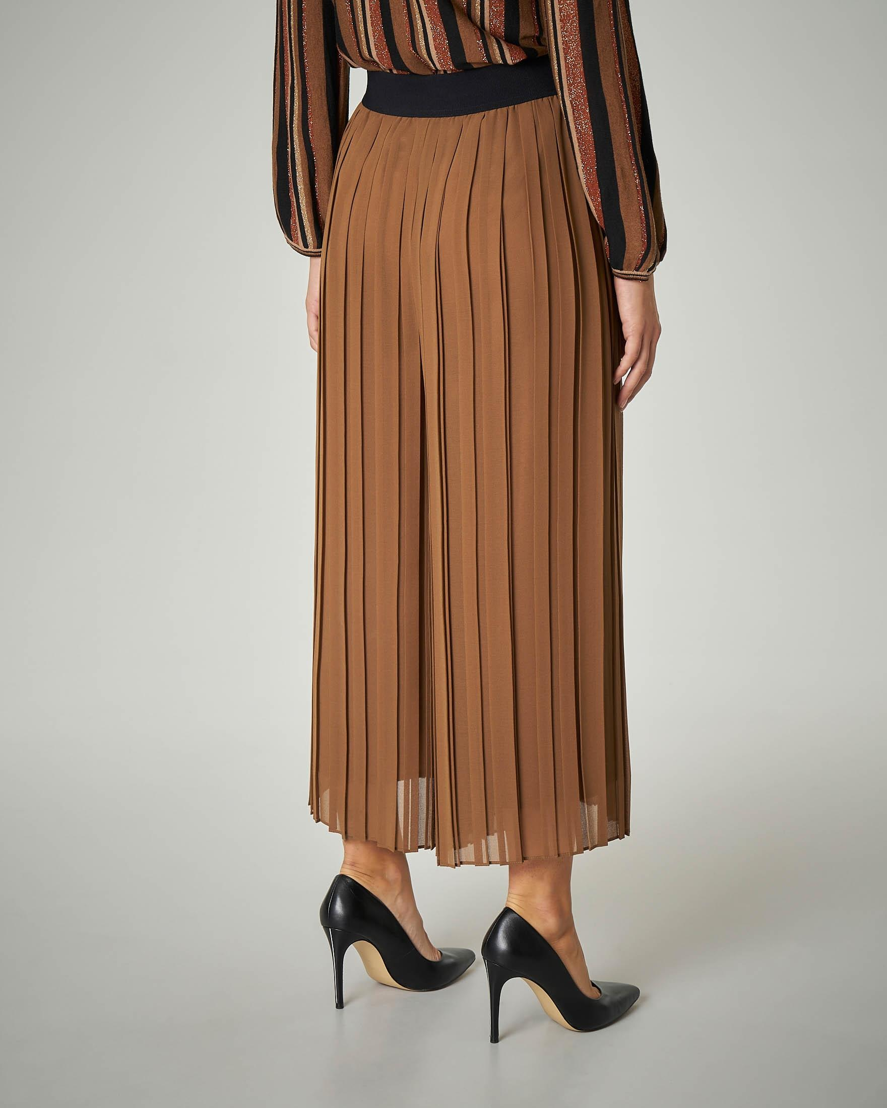 Gonna-pantalone plissè color cammello