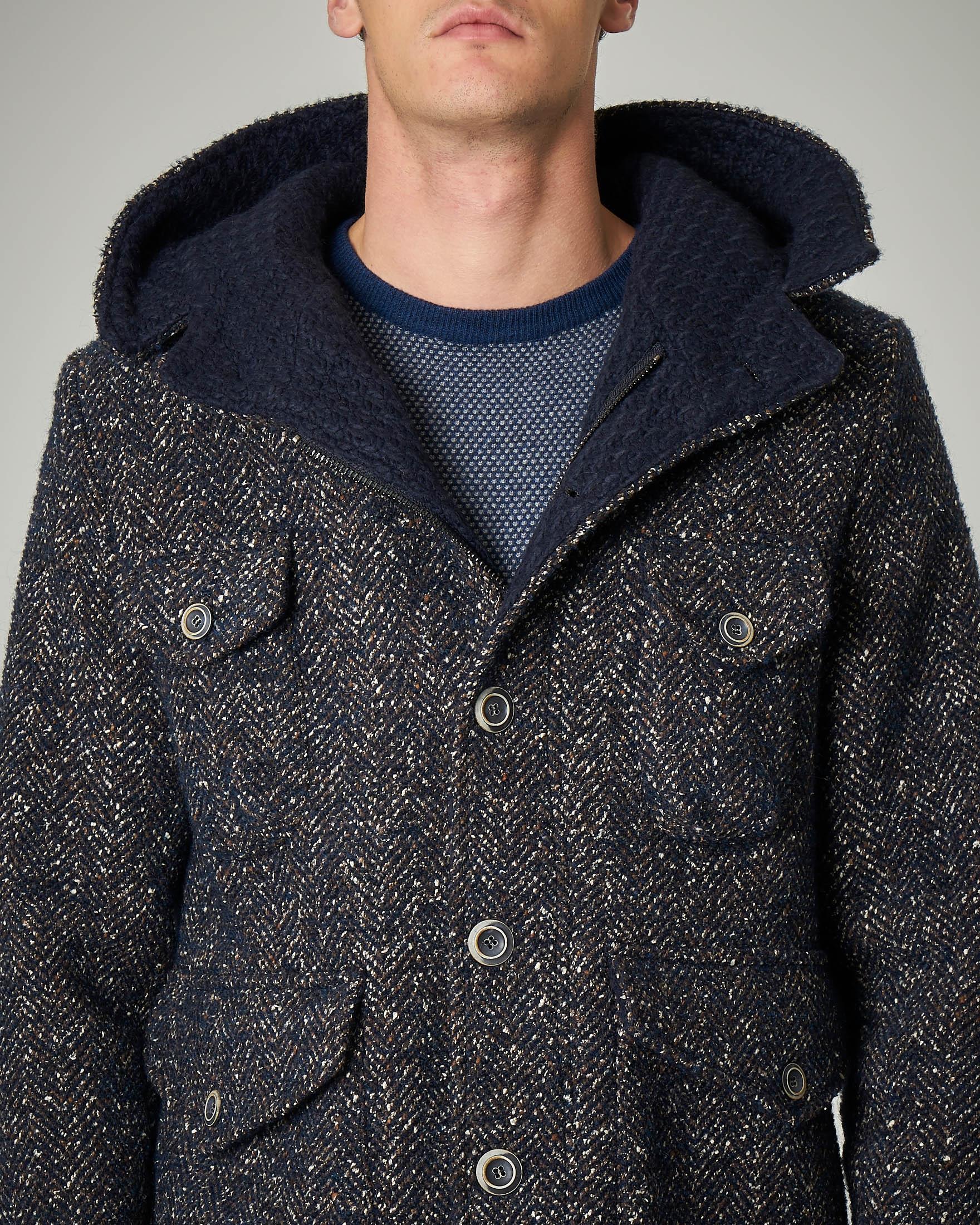 Parka corto blu in lana cotta fantasia spinata