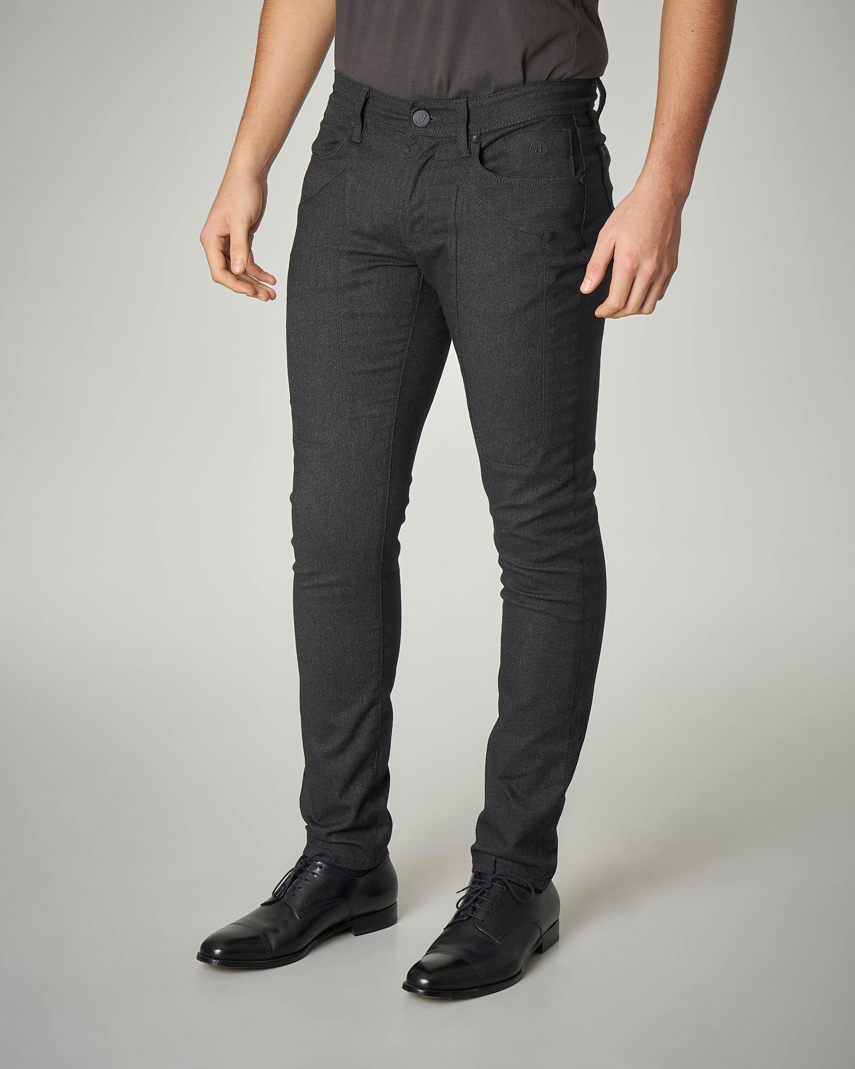 Pantalone cinque tasche nero in flanella di cotone con toppa