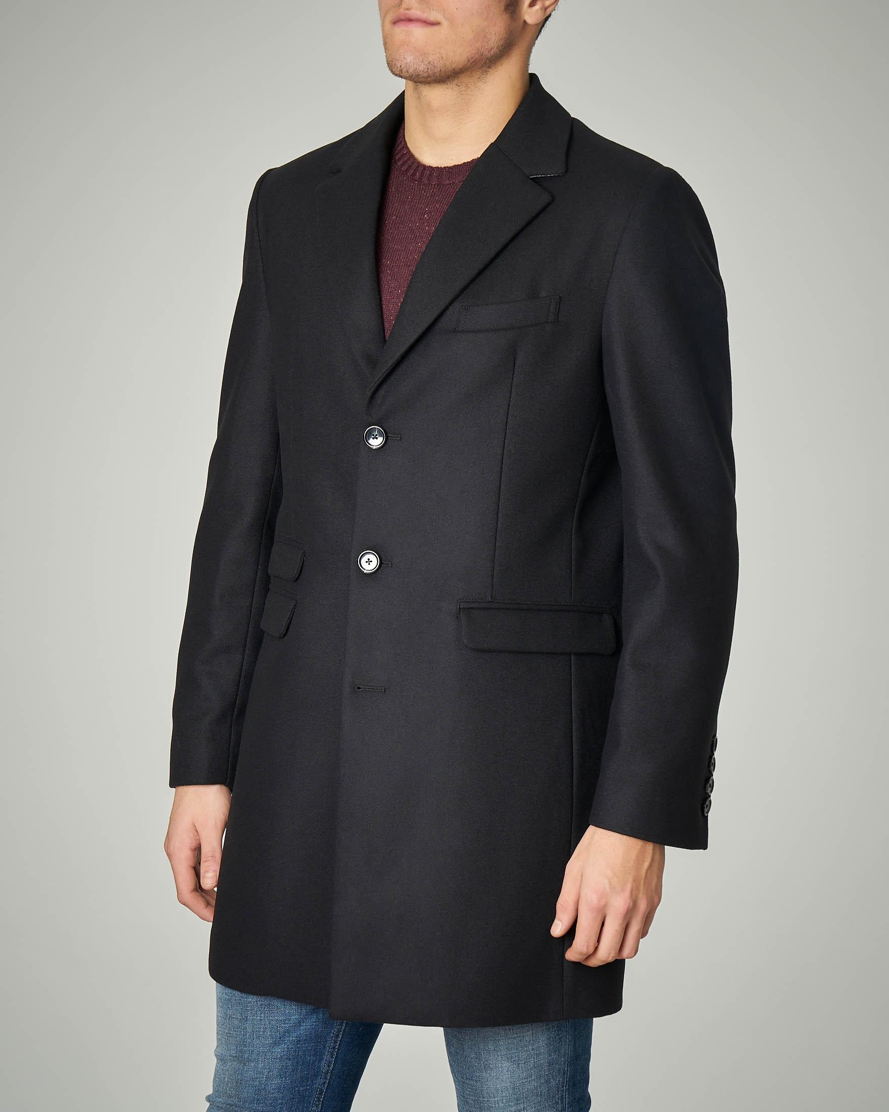 Cappotto nero in panno di lana
