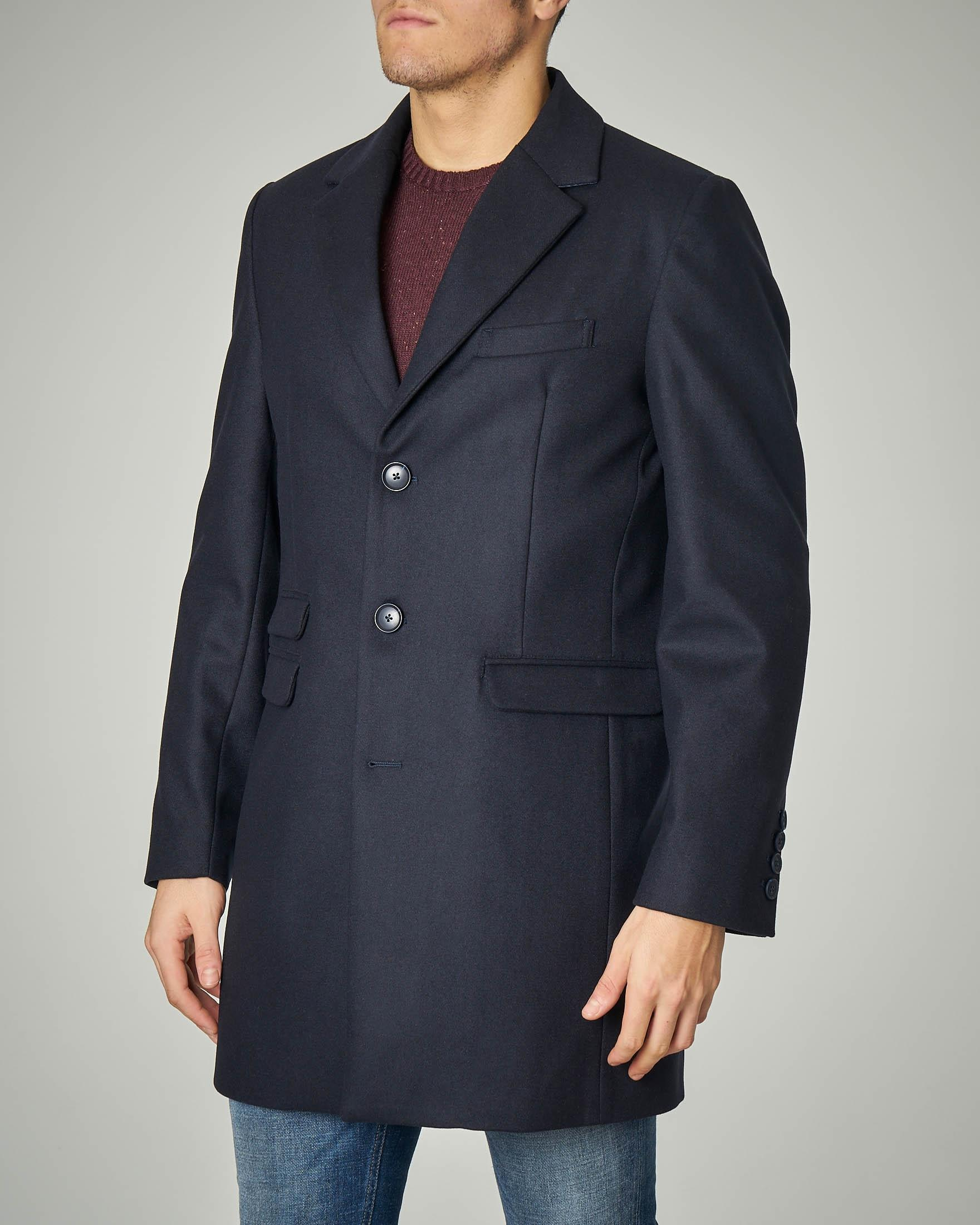 Cappotto blu in panno di lana