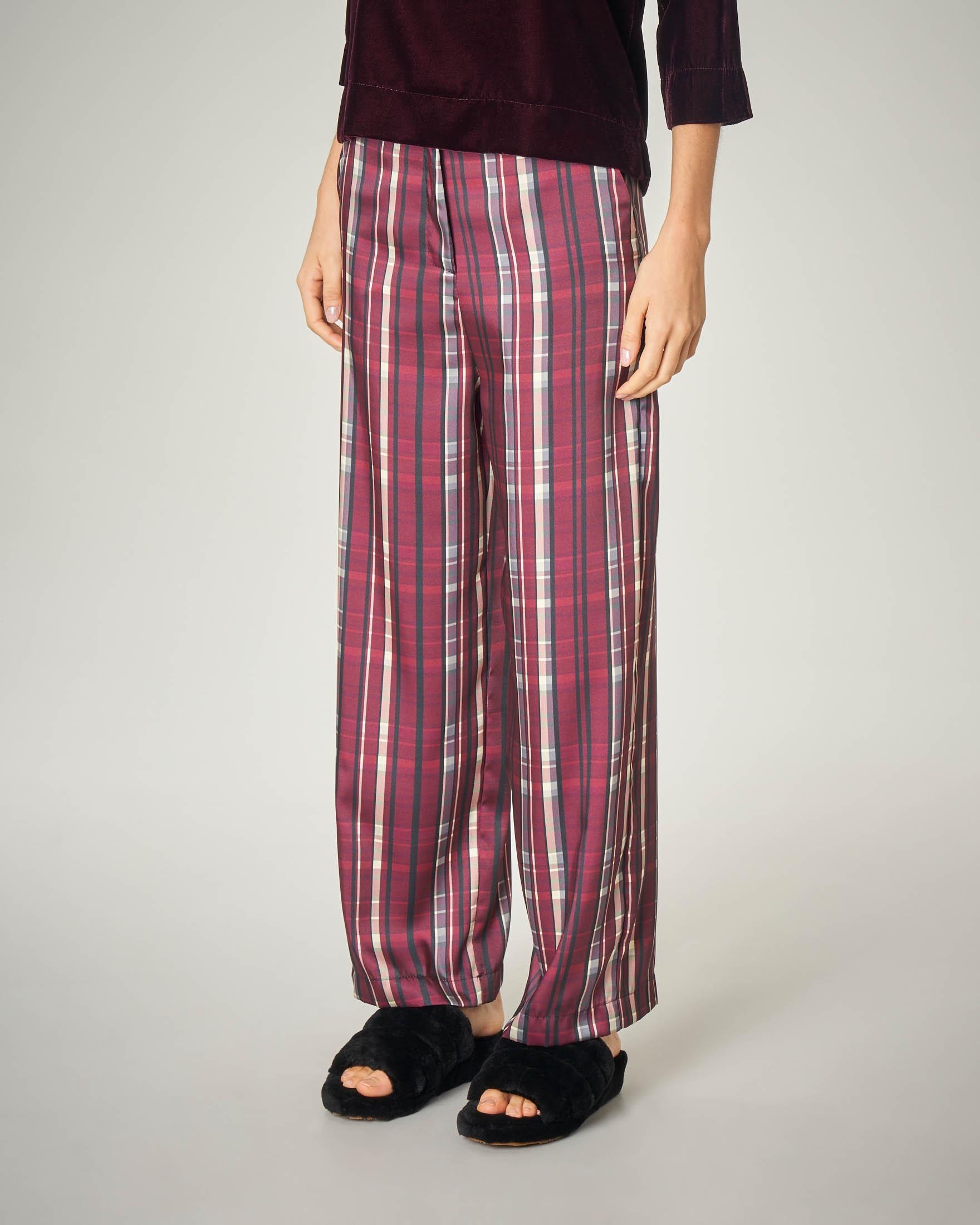 Pantalone pigiama a fantasia a quadri bordeaux