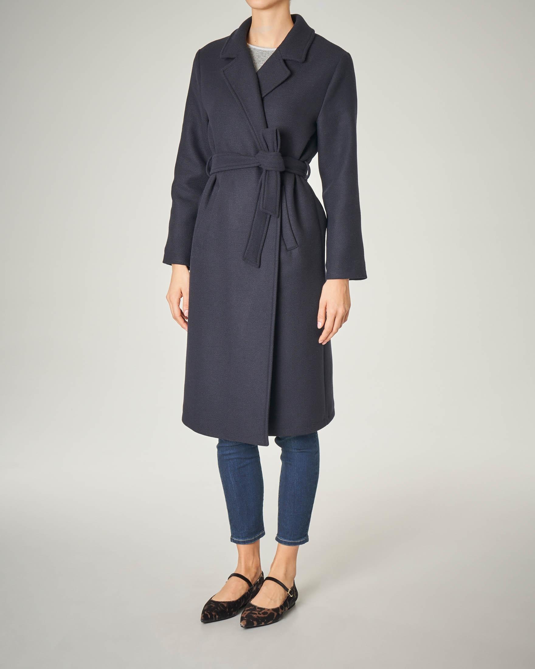 Cappotto lungo blu a vestaglia
