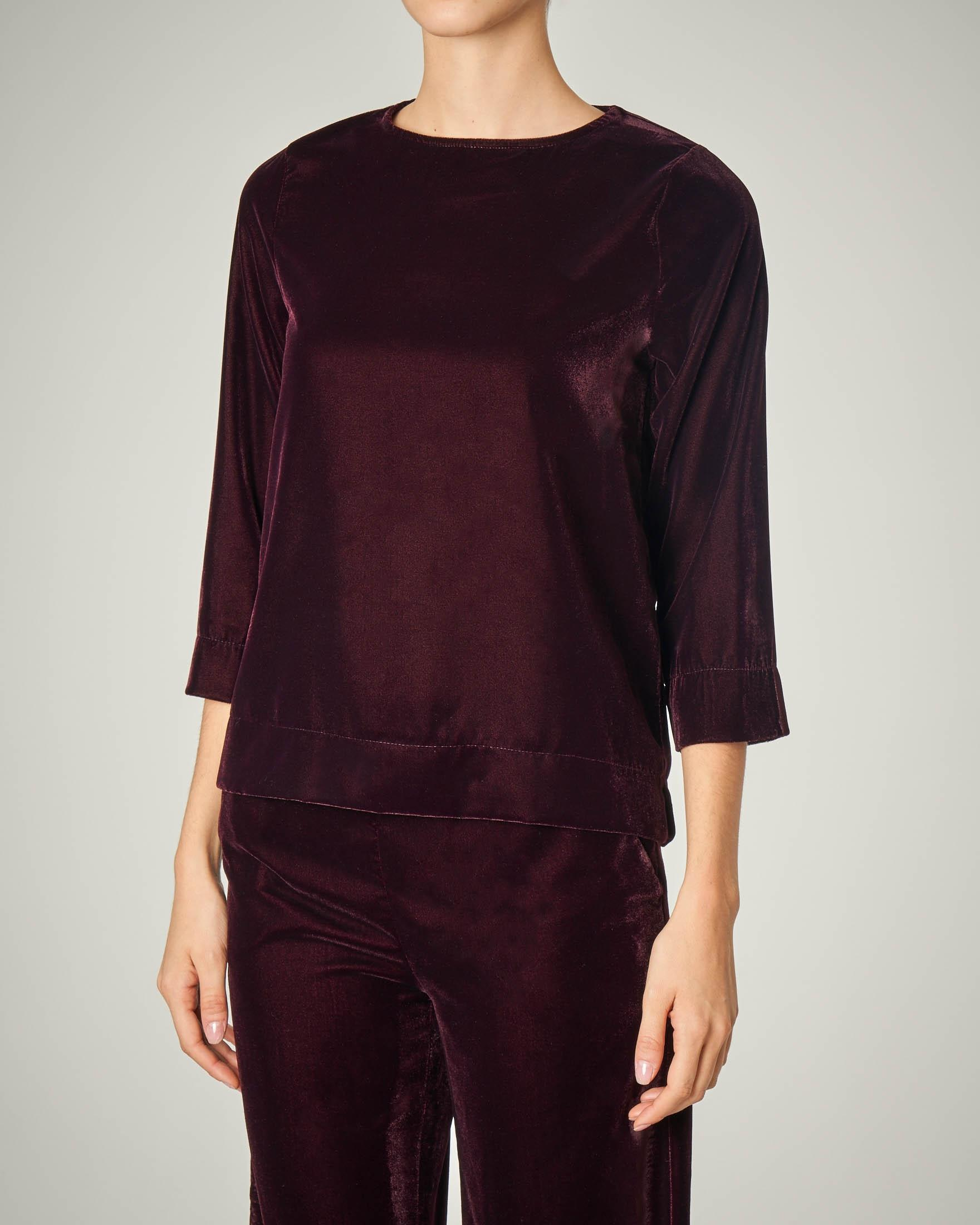 Blusa in velluto bordeaux