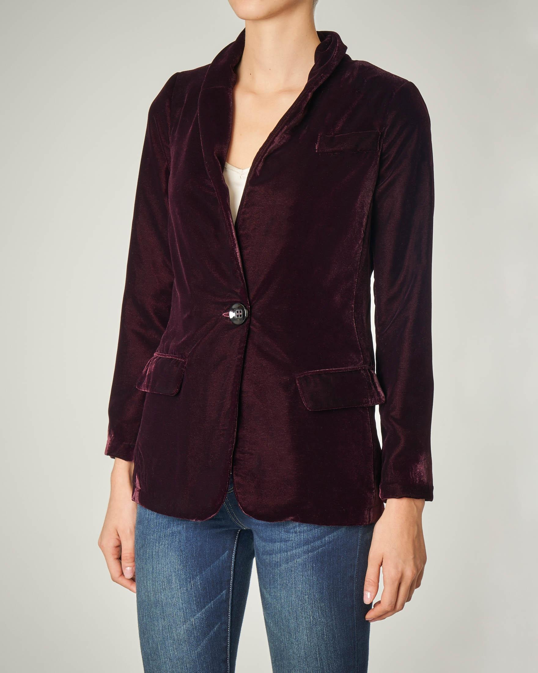 Blazer in velluto bordeaux