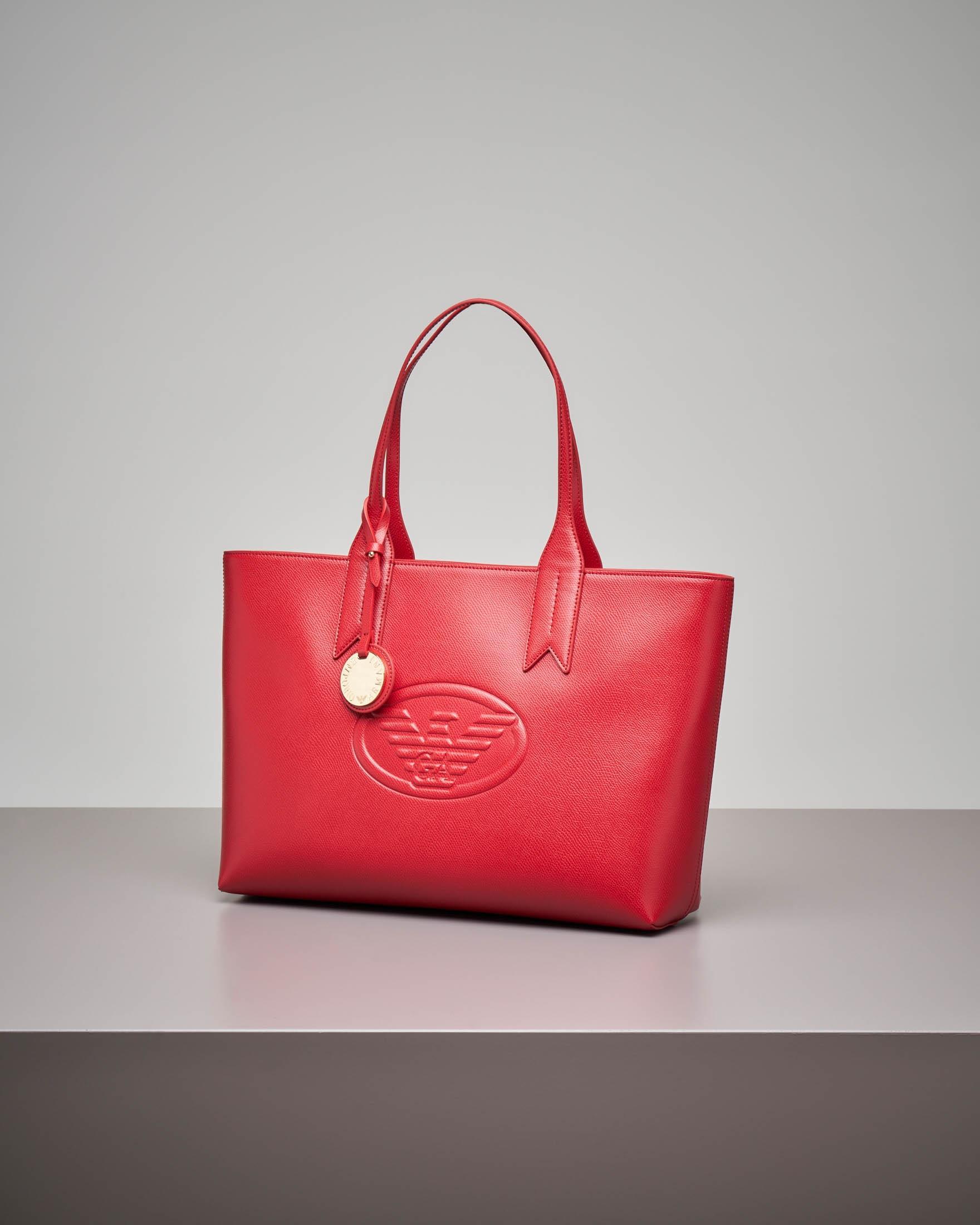 Shopper rossa rigida effetto metallizzato con logo